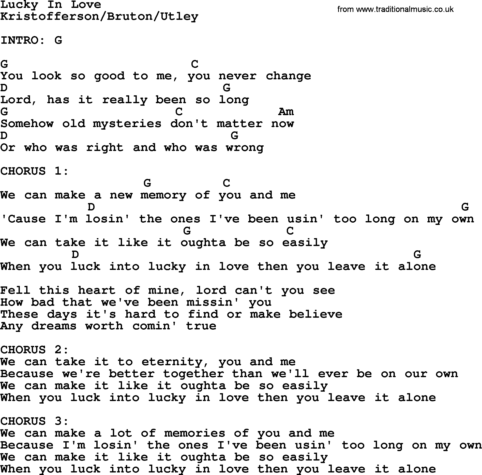 Kris Kristofferson Song Lucky In Love Lyrics And Chords