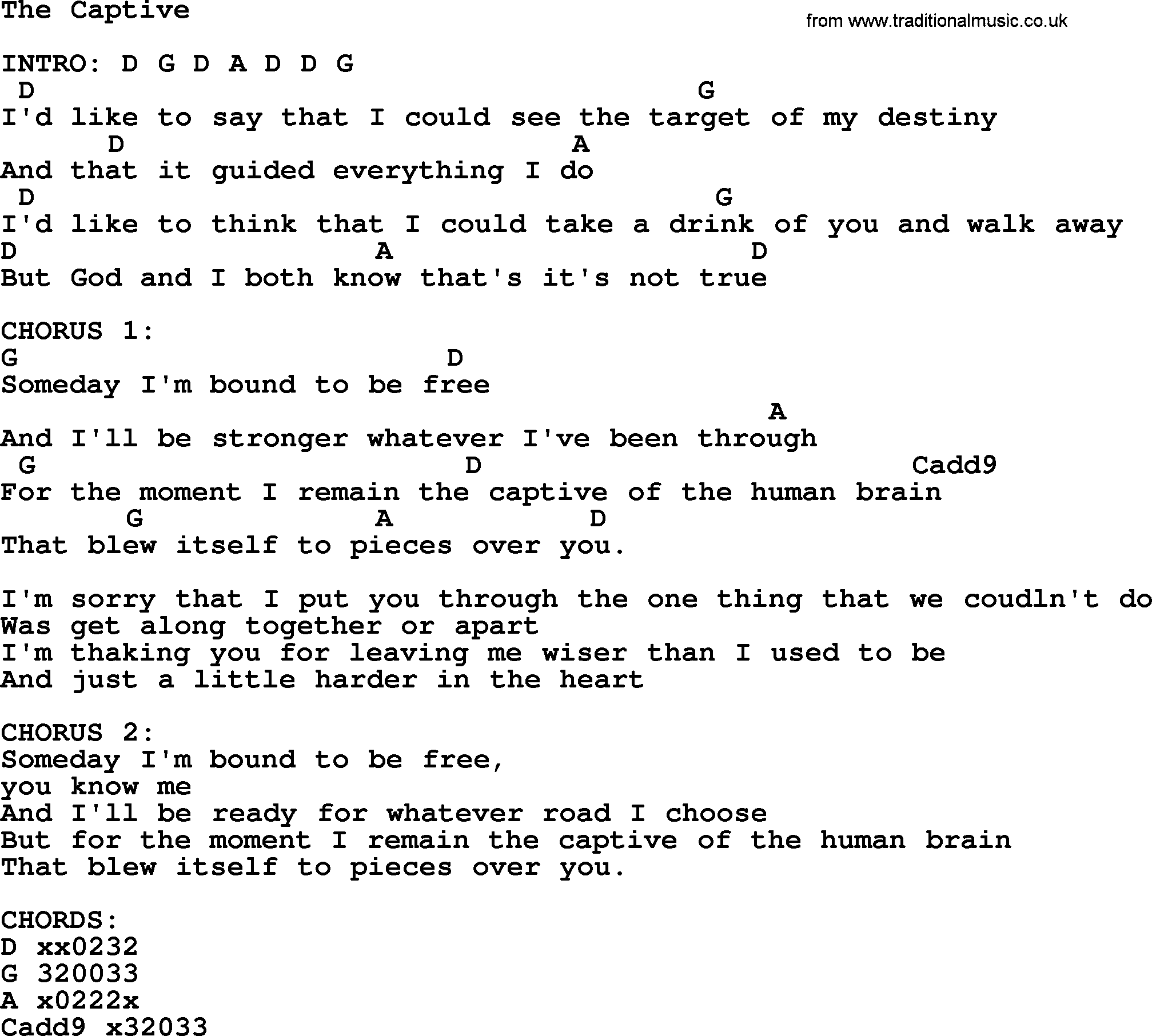 Kris Kristofferson Song The Captive Lyrics And Chords