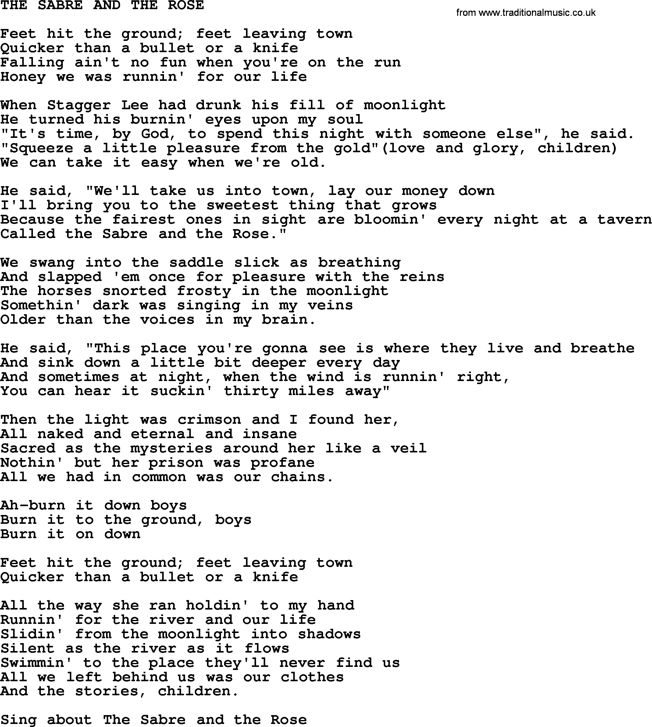 Kris Kristofferson Song The Sabre And The Rosetxt Lyrics And Chords