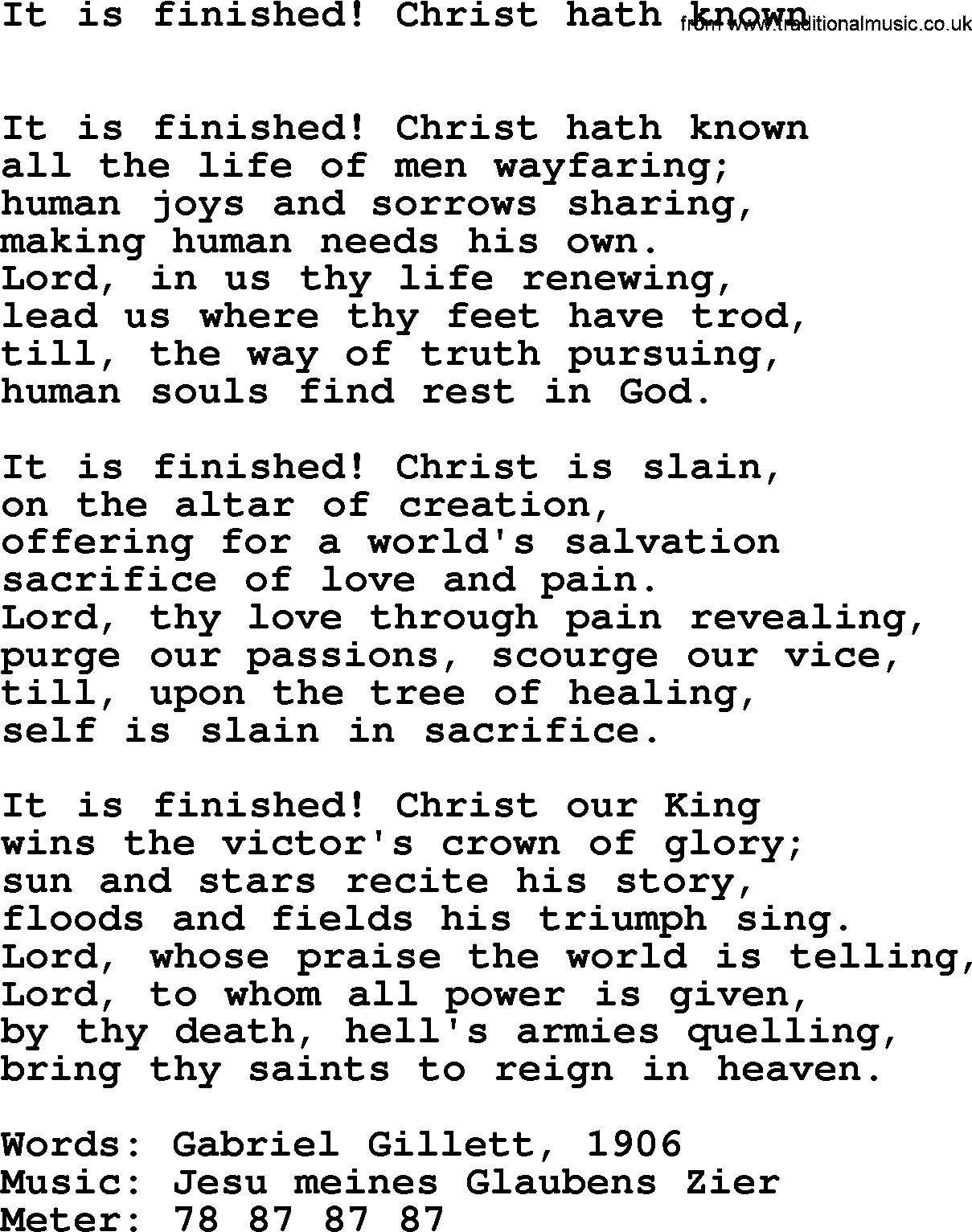Lent Hymns, Hymn: It Is Finished! Christ Hath Known, lyrics with PDF ...