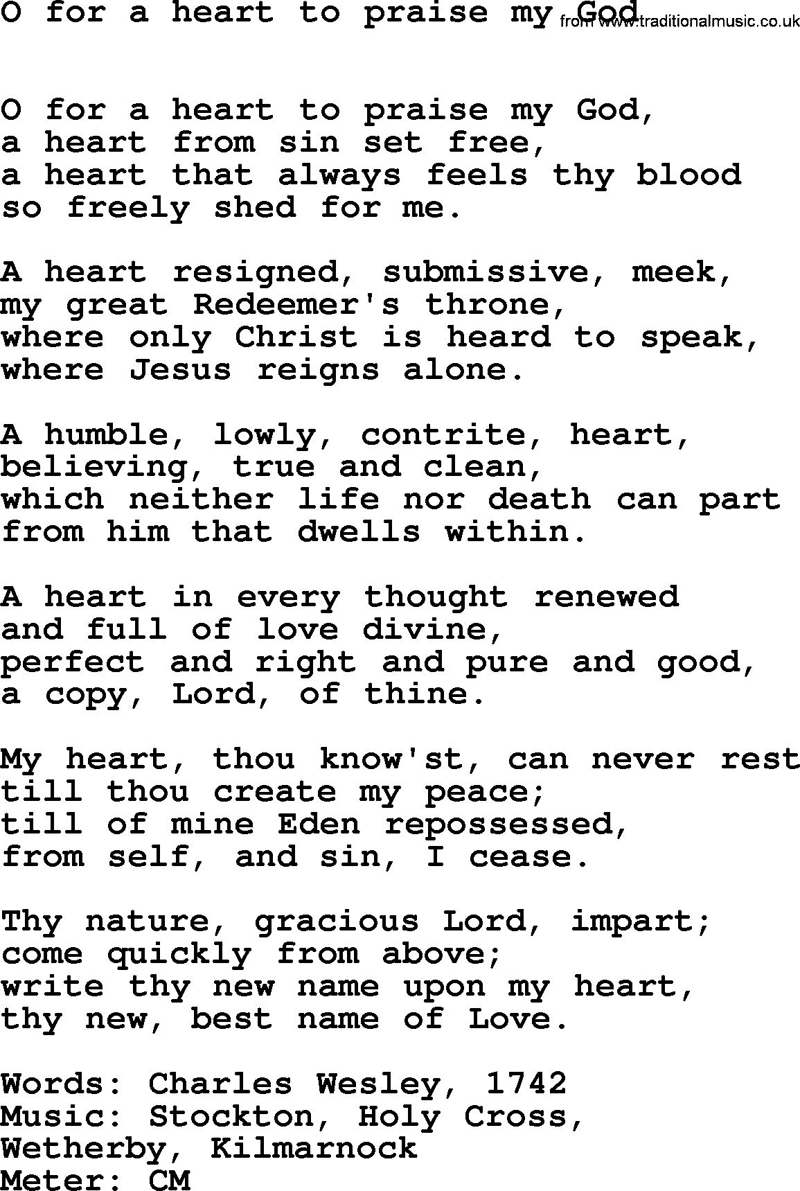 Lent Hymns, Song: O For A Heart To Praise My God - lyrics ...