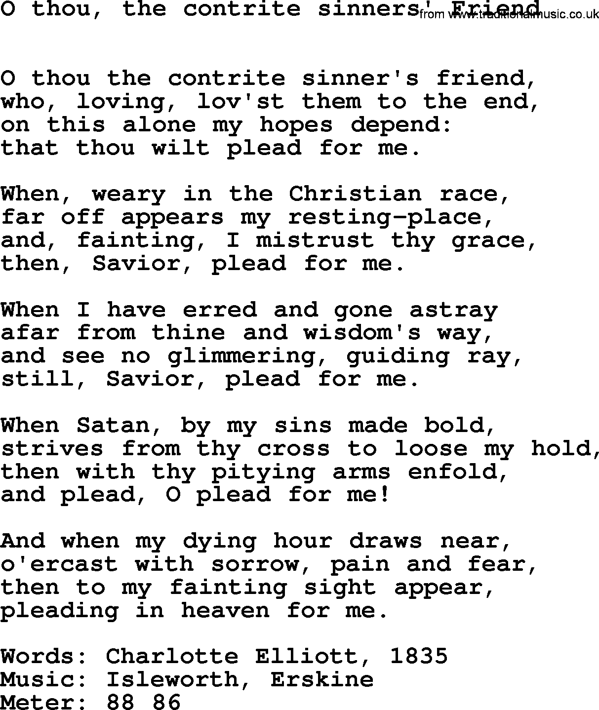 Lent Hymns, Song: O Thou, The Contrite Sinners' Friend ...