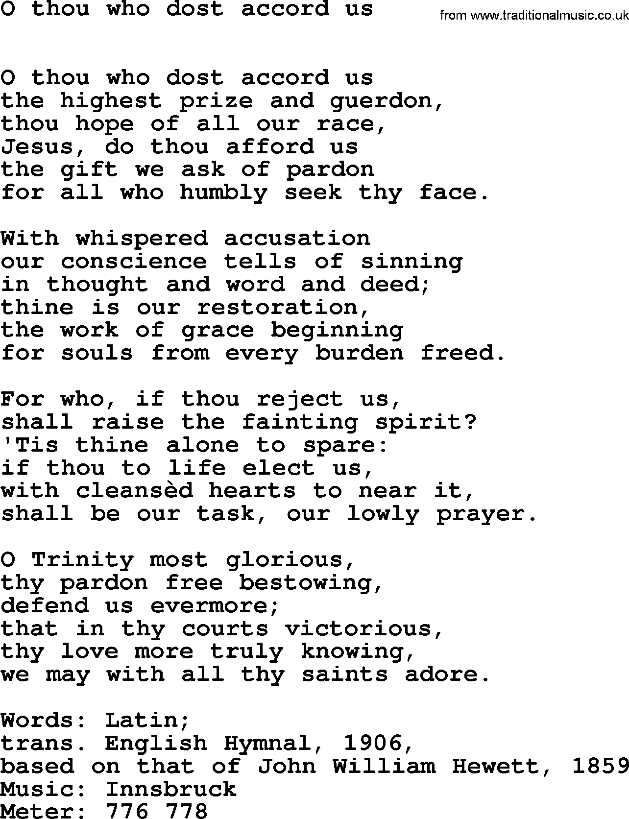 Lent Hymns, Song: O Thou Who Dost Accord Us - lyrics, midi ...