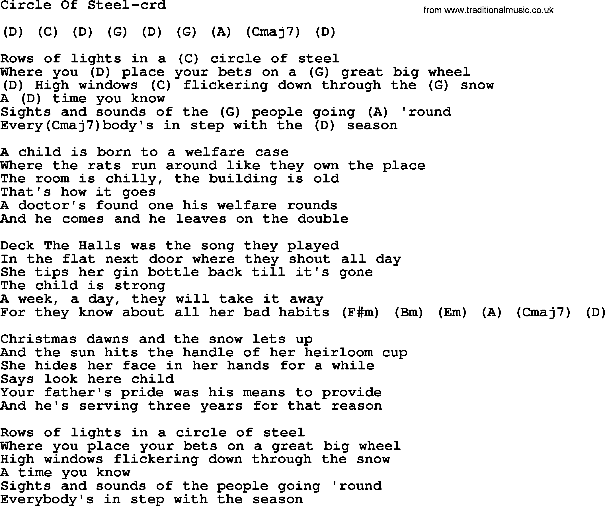 Circle of steel by gordon lightfoot lyrics and chords gordon lightfoot song circle of steel lyrics and chords hexwebz Image collections