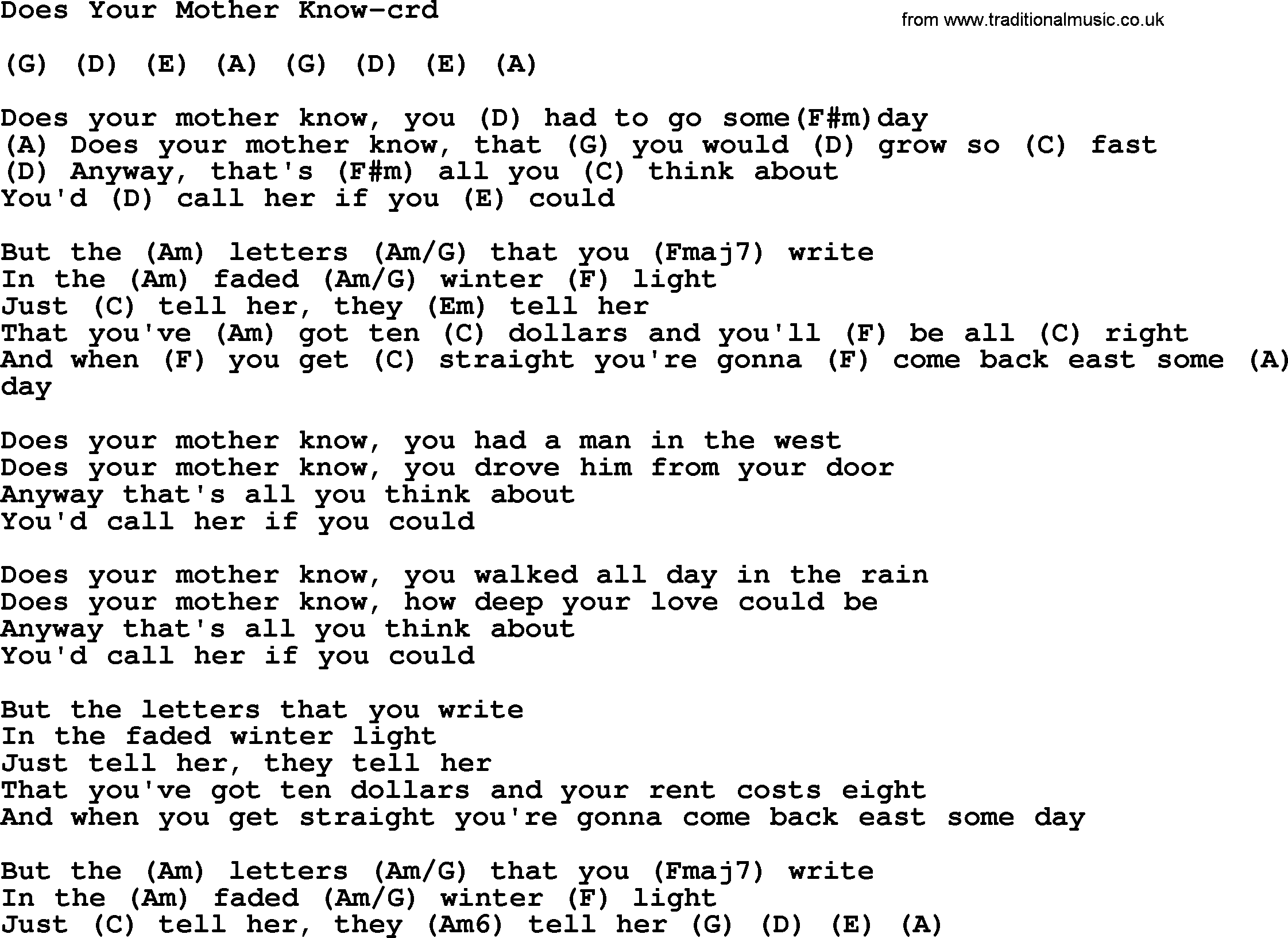 Does Your Mother Know By Gordon Lightfoot Lyrics And Chords