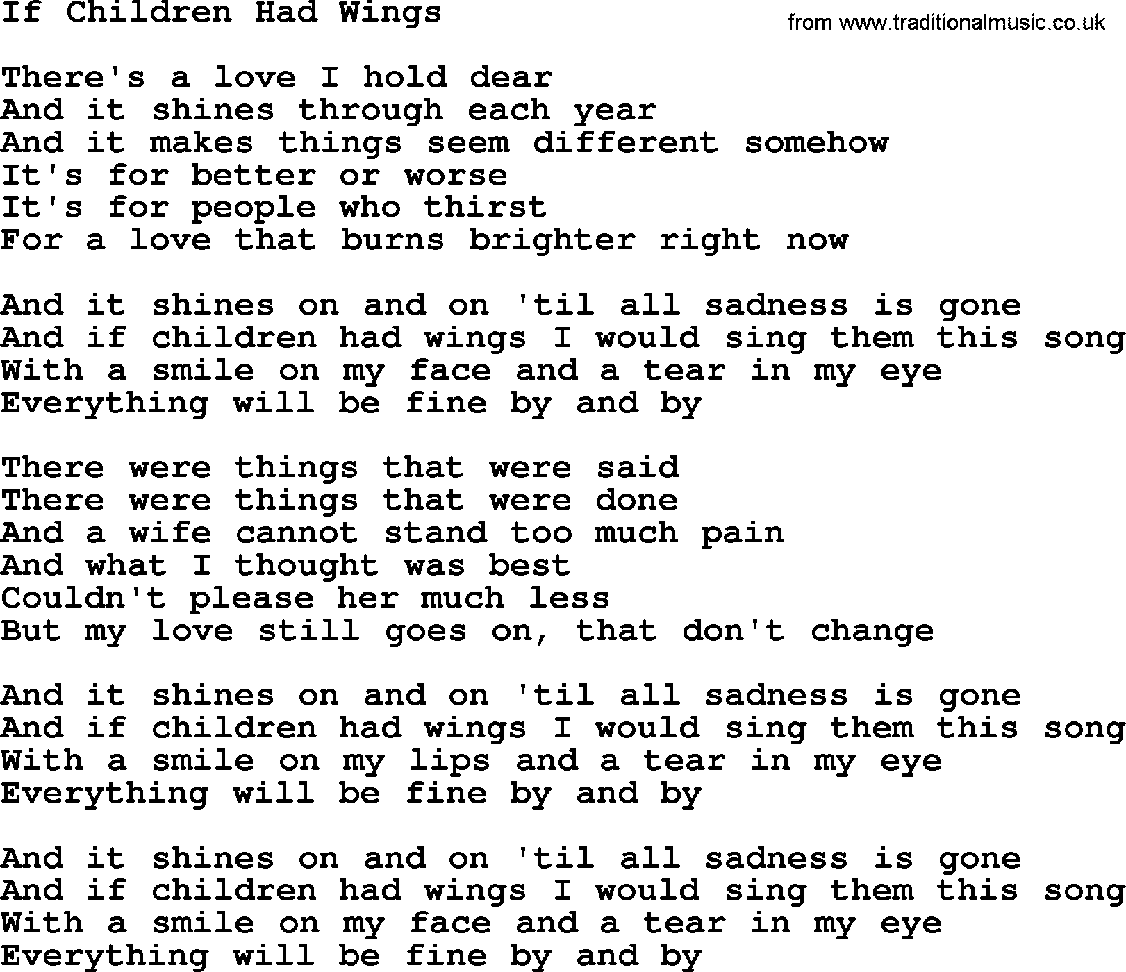 Gordon Lightfoot Song If Children Had Wings, Lyrics