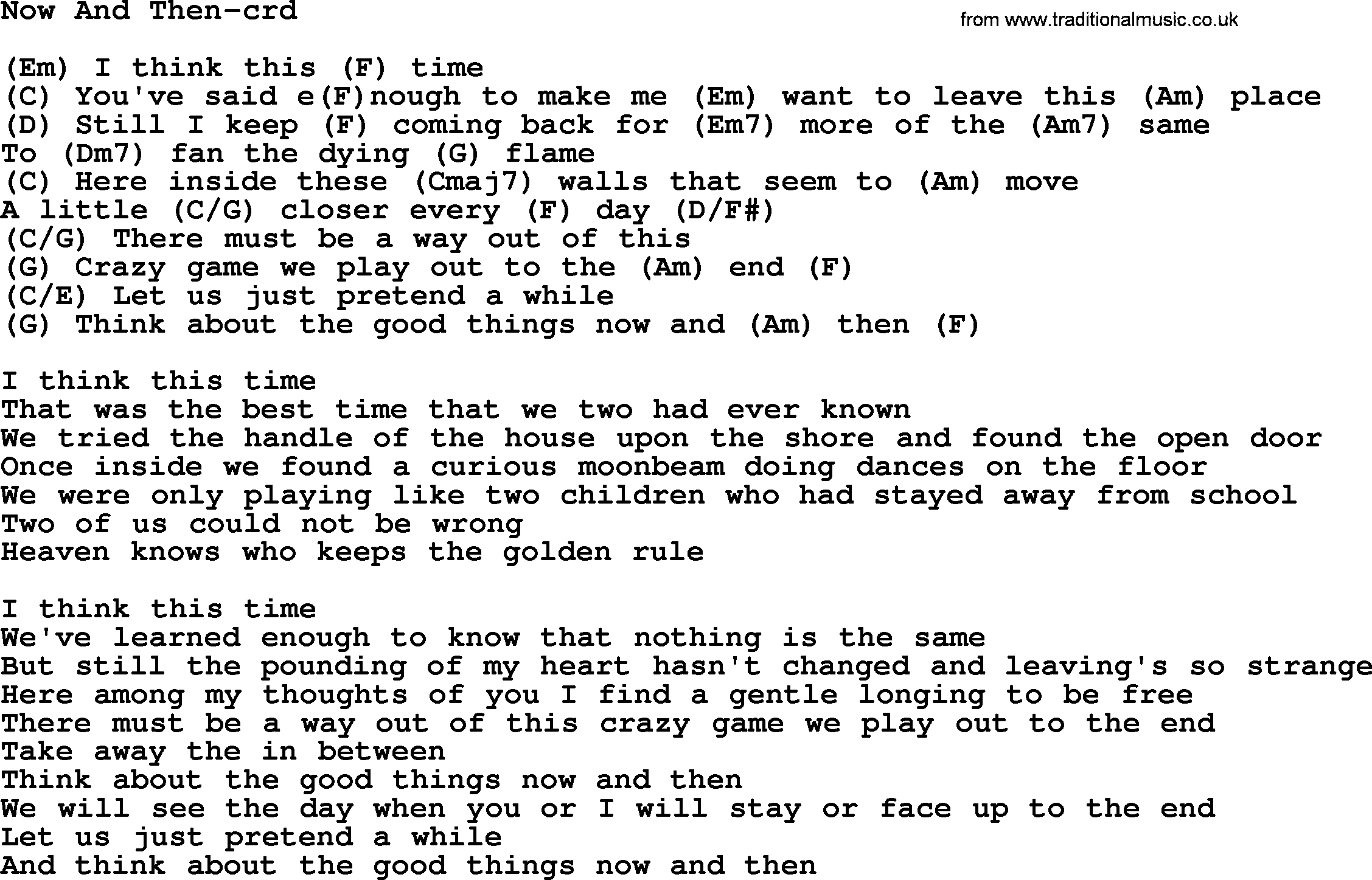 Now And Then, by Gordon Lightfoot, lyrics and chords