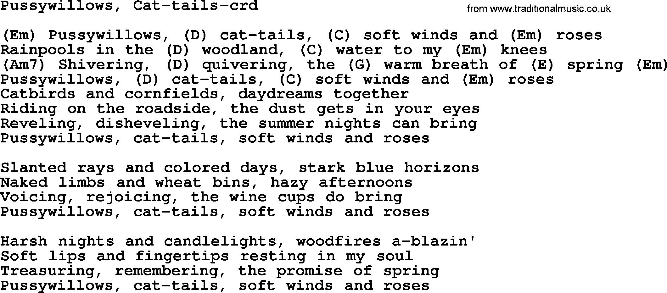 Pussywillows Cat Tails By Gordon Lightfoot Lyrics And Chords