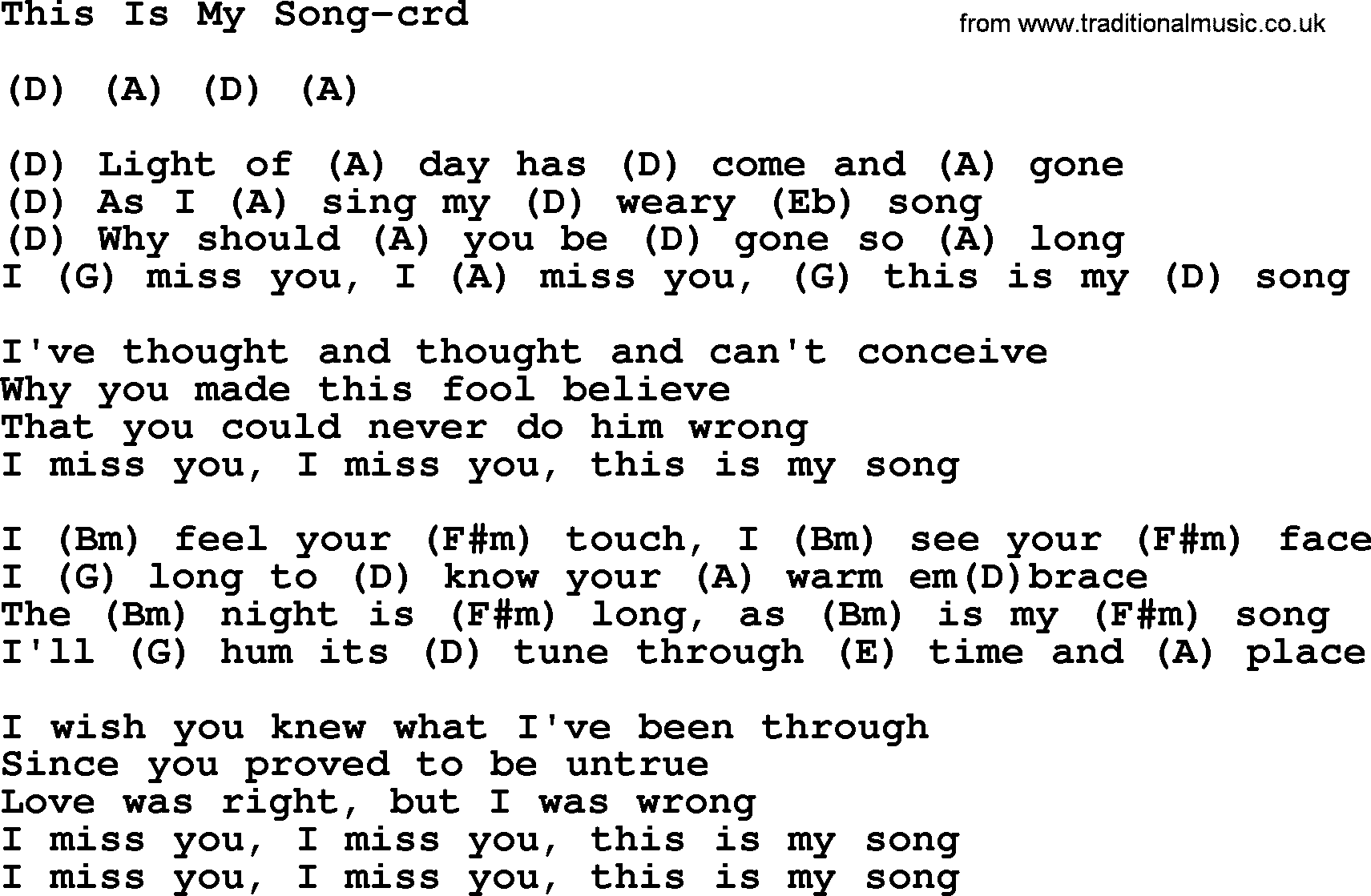This Is My Song, by Gordon Lightfoot, lyrics and chords