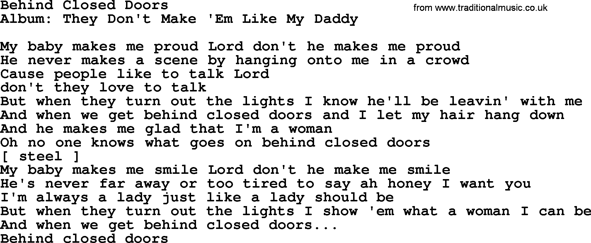Loretta Lynn song Behind Closed Doors lyrics  sc 1 st  Traditional Music Library : doors lyrics - pezcame.com