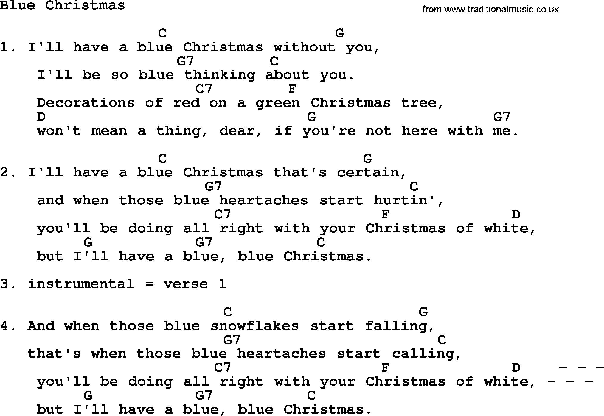 loretta lynn song blue christmas lyrics and chords - I Ll Have A Blue Christmas Lyrics