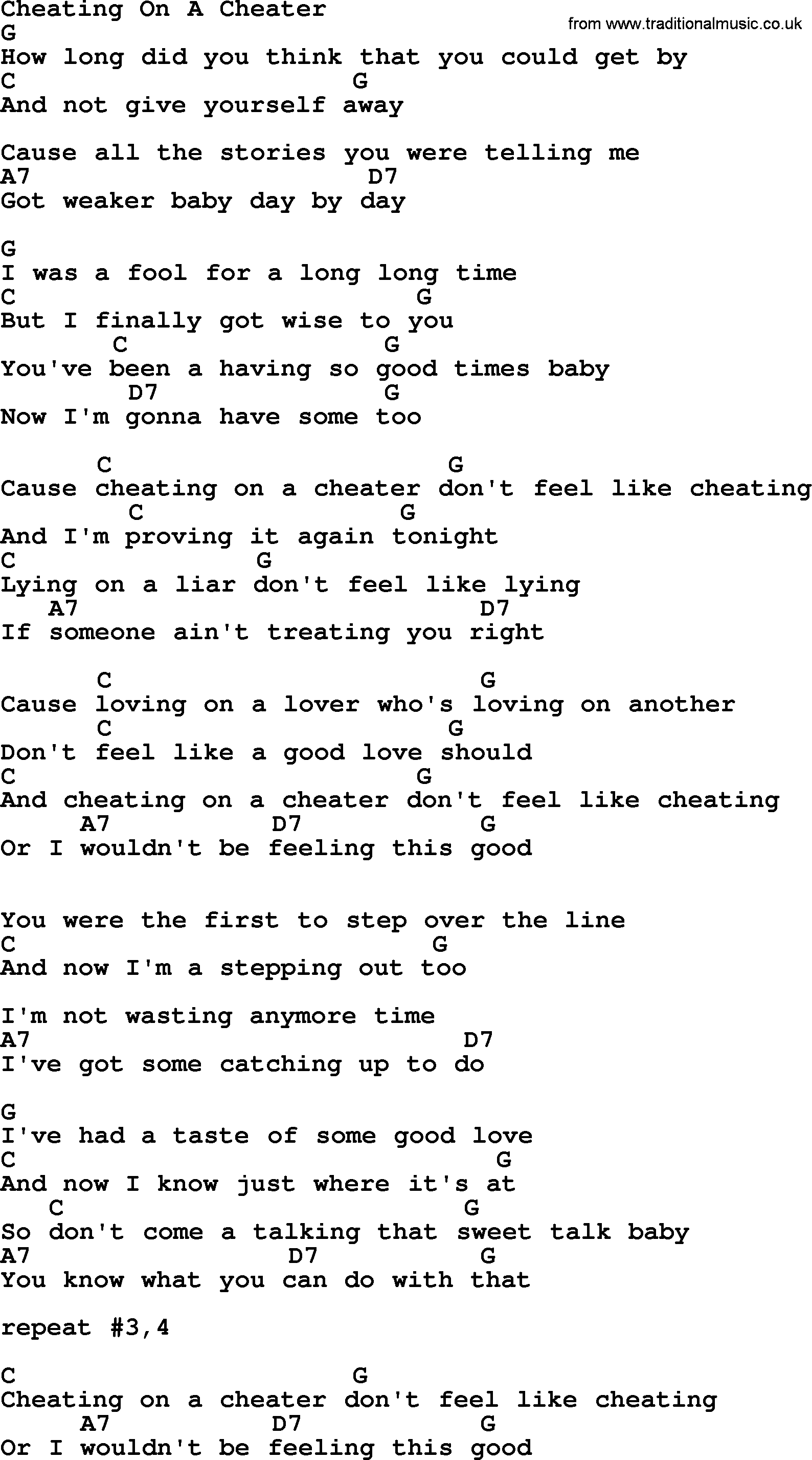 A song about cheating