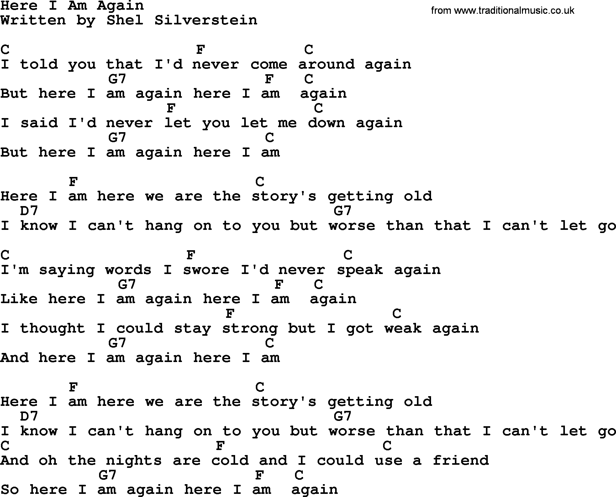 Loretta Lynn song: Here I Am Again, lyrics and chords