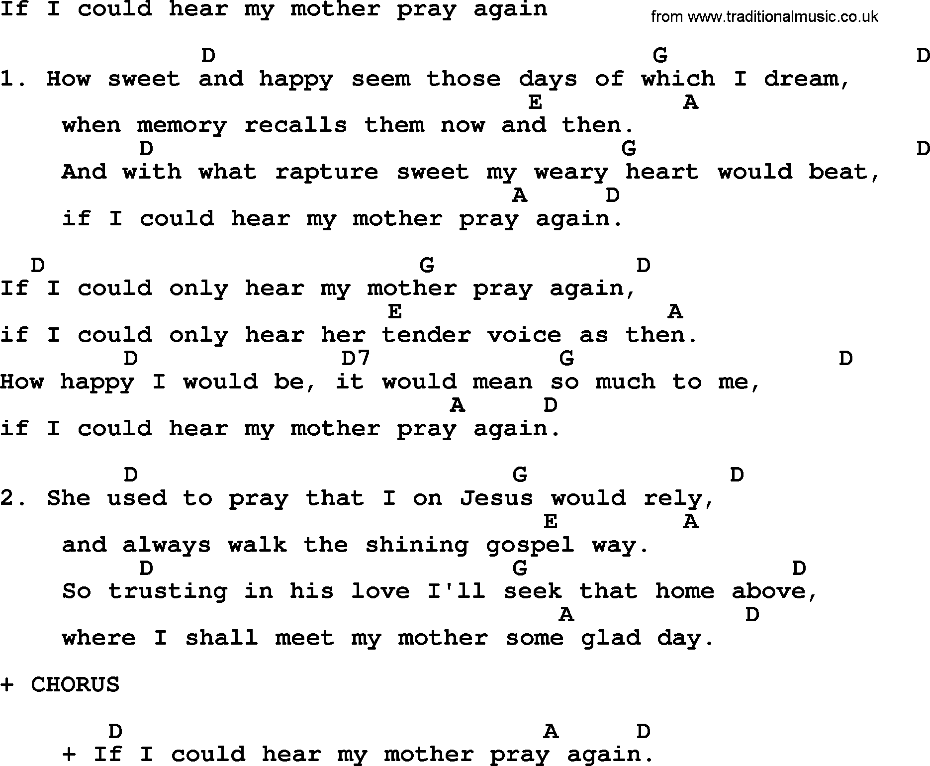 Loretta Lynn Song If I Could Hear My Mother Pray Again Lyrics And
