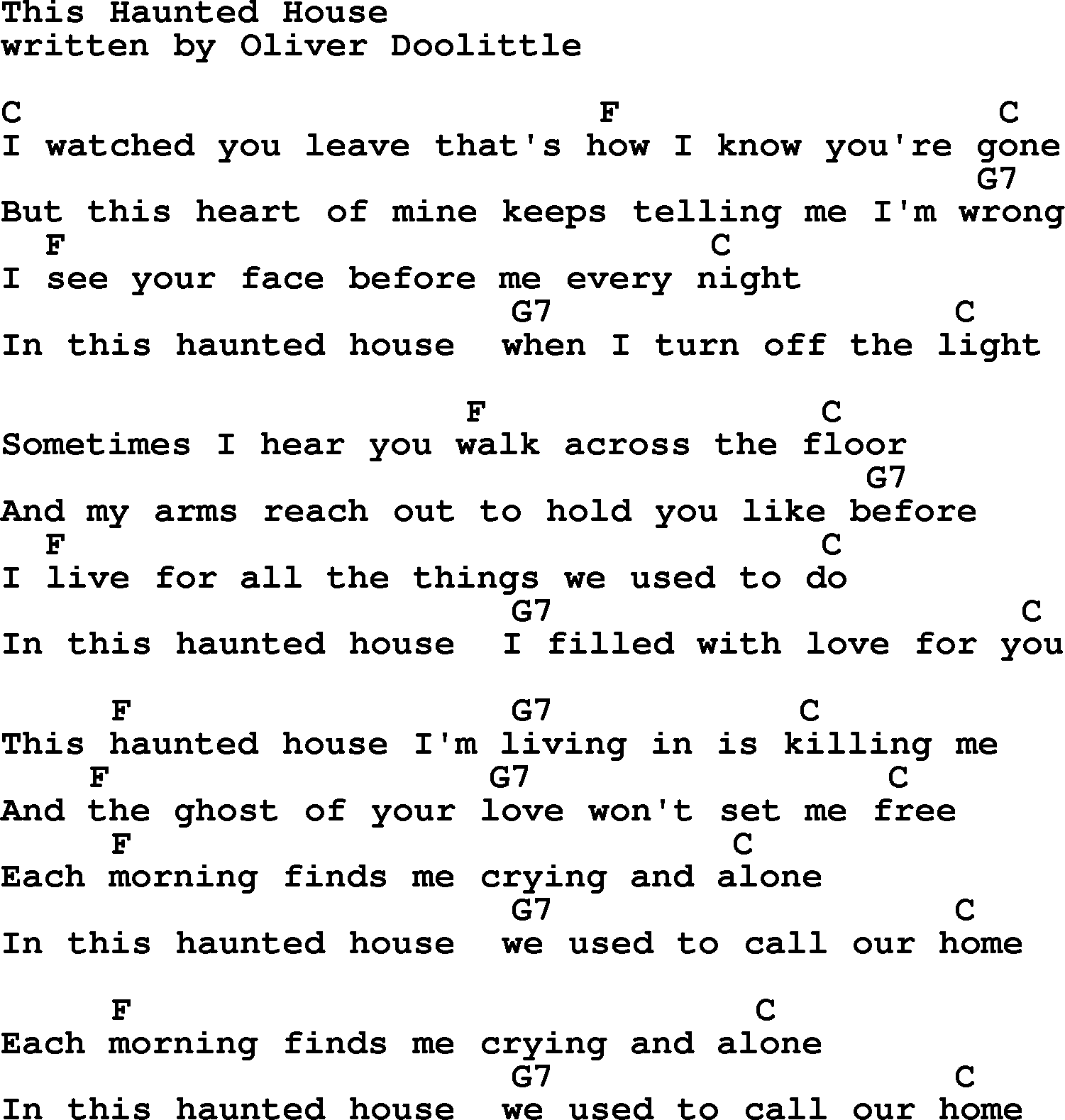 Loretta Lynn song This Haunted House lyrics and chords