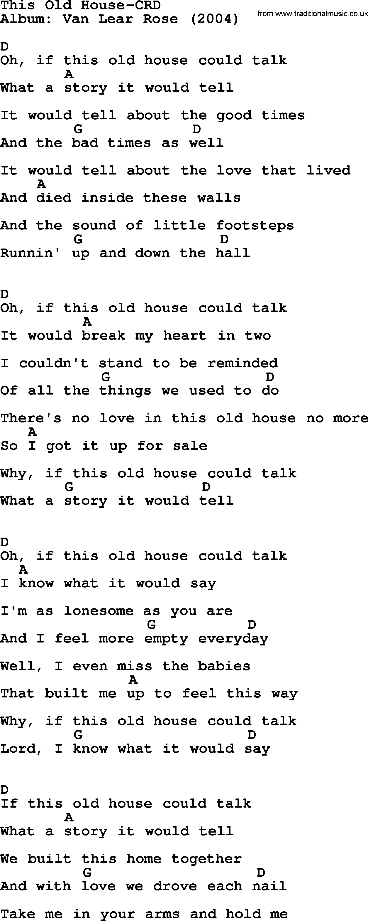 Loretta lynn song this old house lyrics and chords for Classic house music songs
