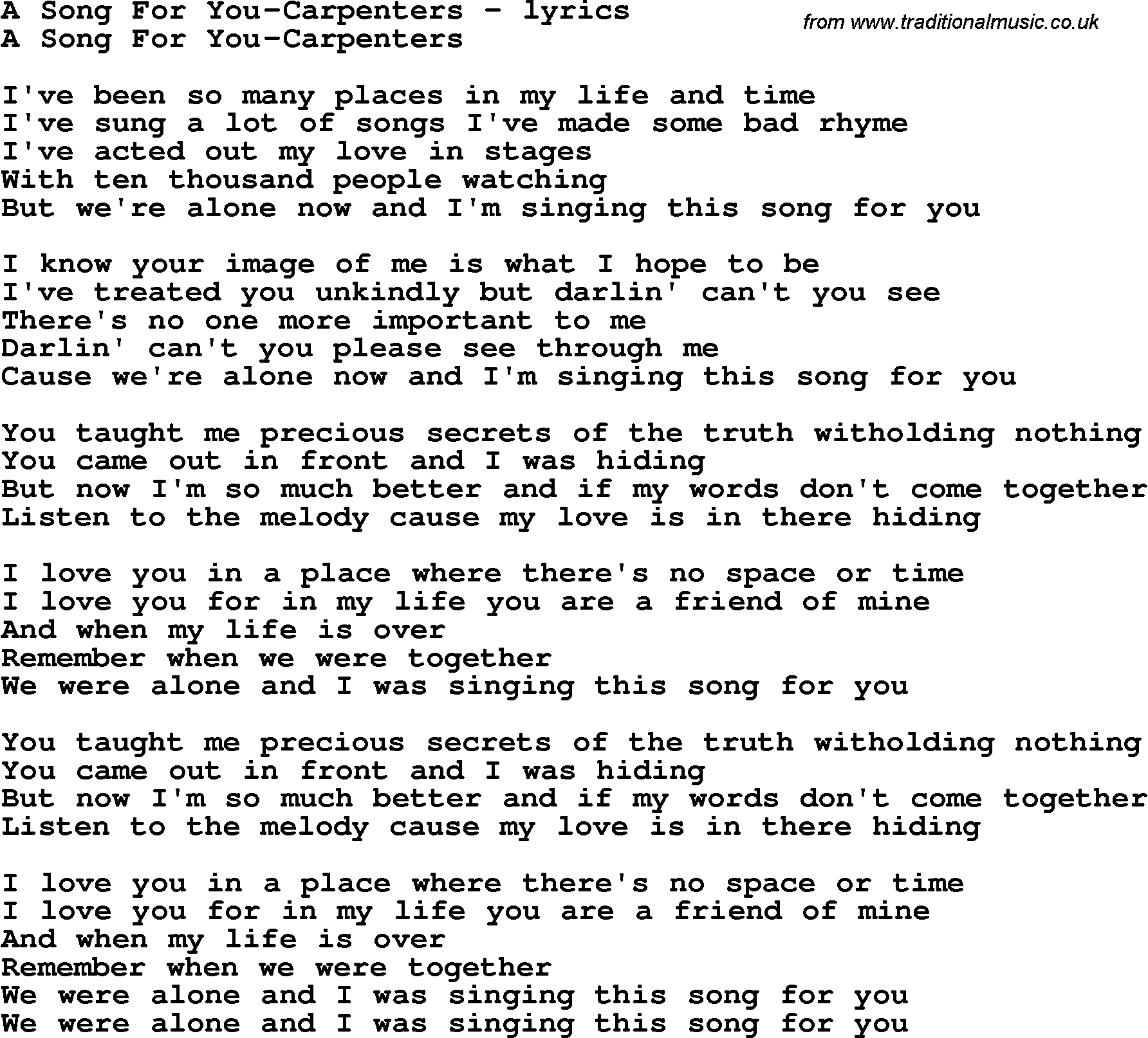 Love Song Lyrics for:A Song For You-Carpenters