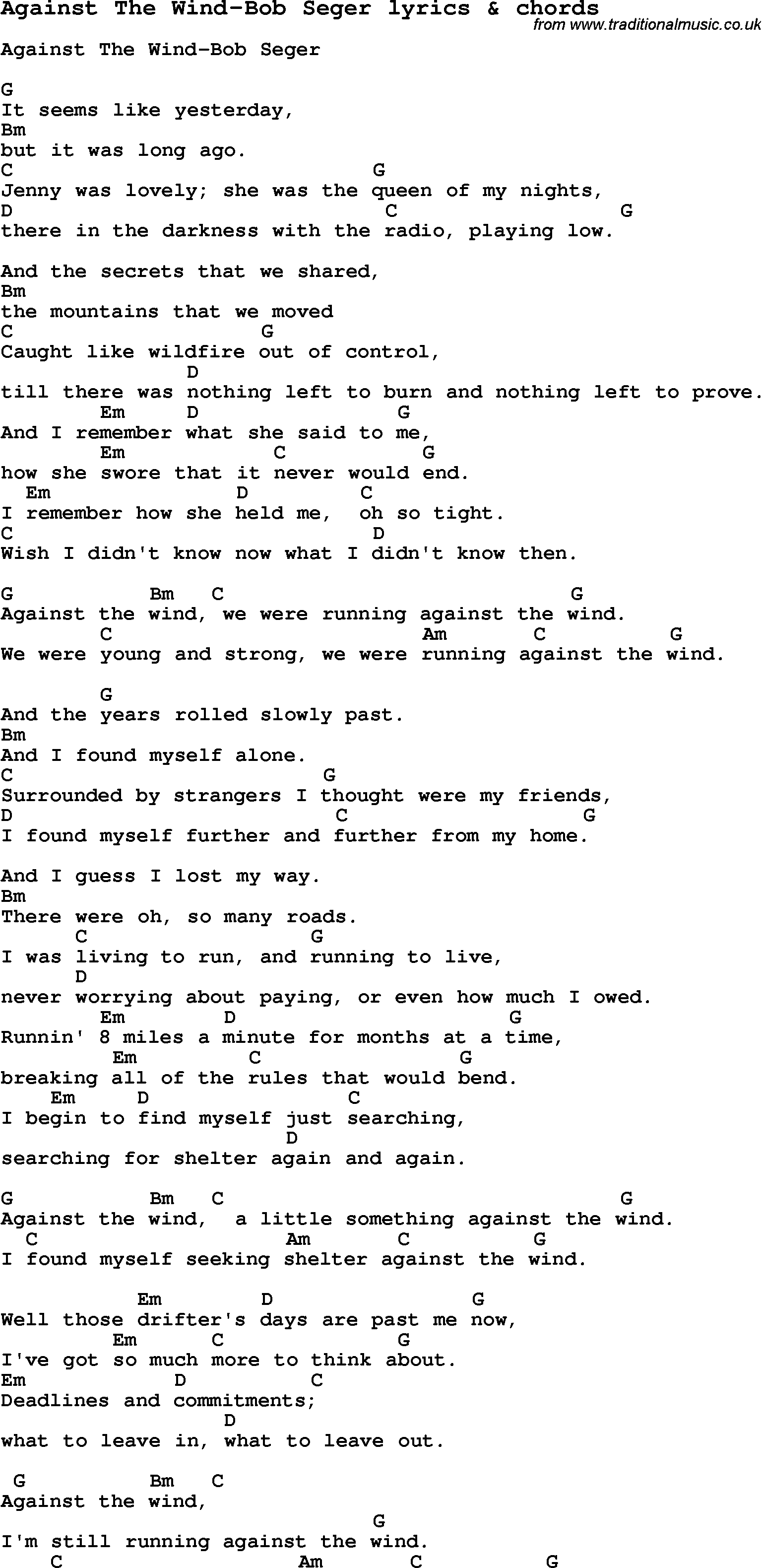 Love song lyrics foragainst the wind bob seger with chords love song lyrics for against the wind bob seger with chords for ukulele hexwebz Images