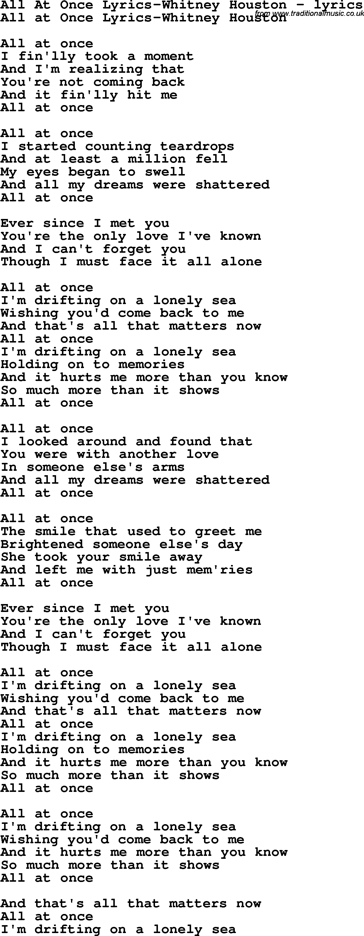 WHITNEY HOUSTON - ALL AT ONCE (lyrics) - YouTube
