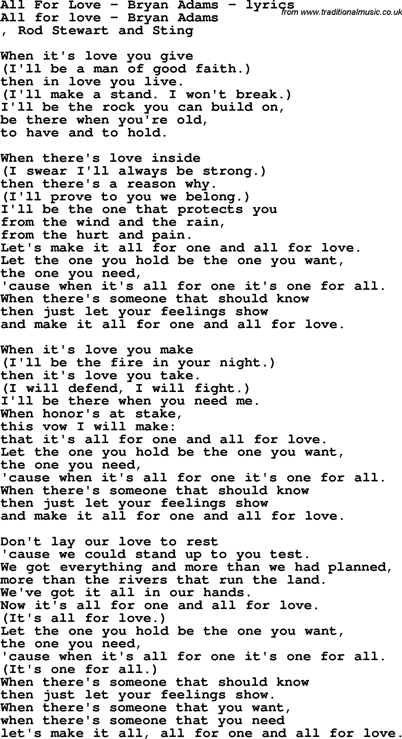 Songtext von Bryan Adams - All for Love Lyrics