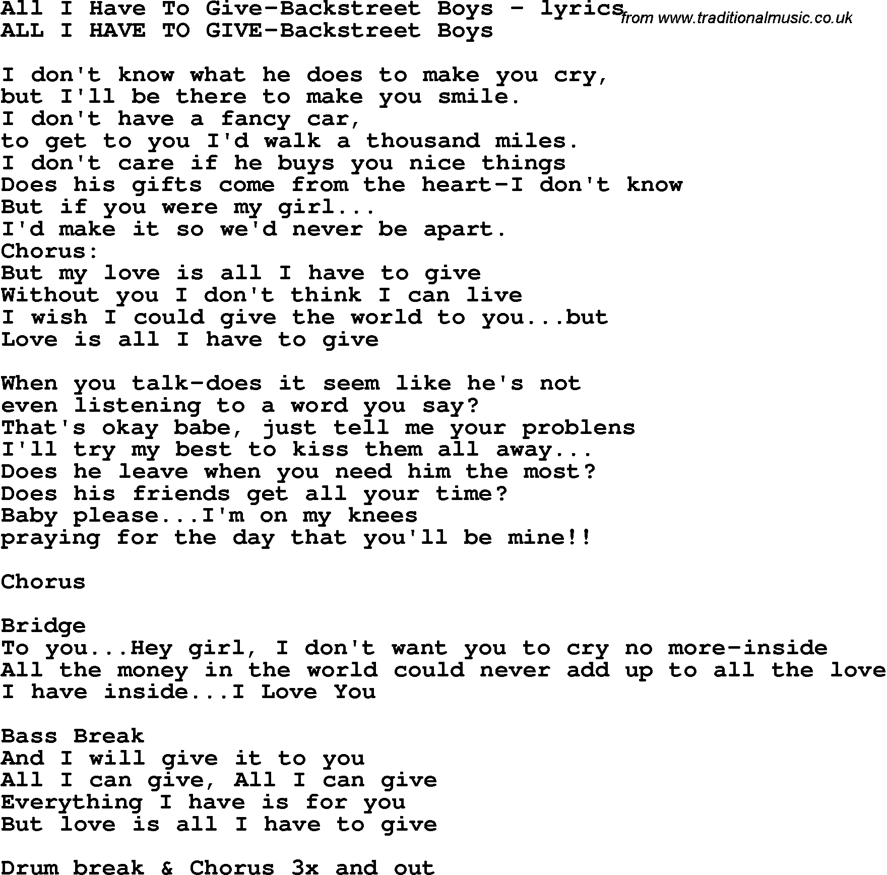 Backstreet Boys- All I have to Give (Lyrics) - YouTube