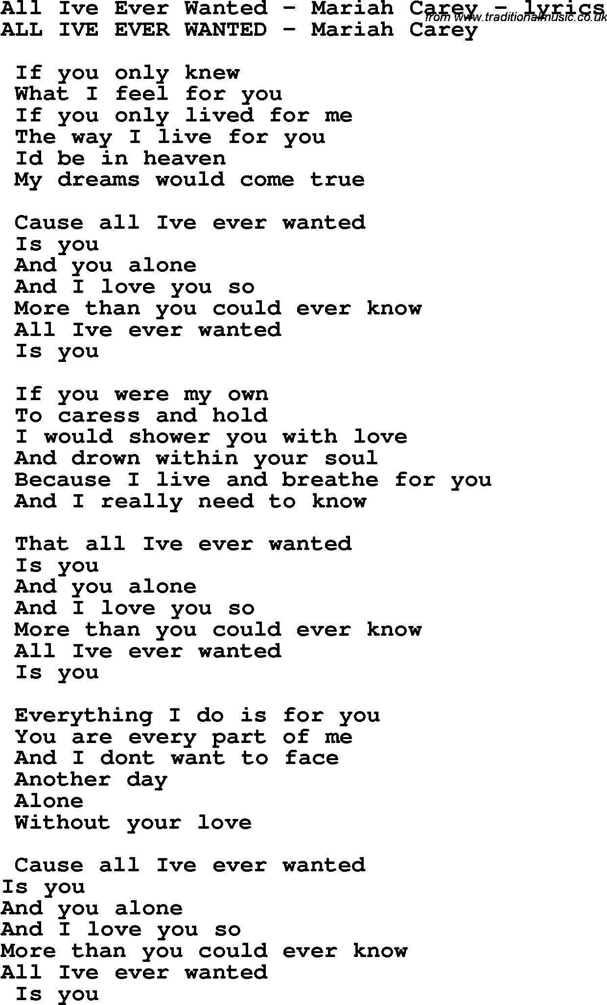 Love Song Lyrics for:All Ive Ever Wanted - Mariah Carey Mariah Carey Chords