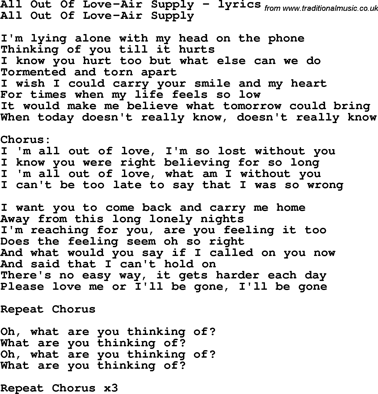 ALL OUT OF LOVE Chords - Air Supply E-Chords