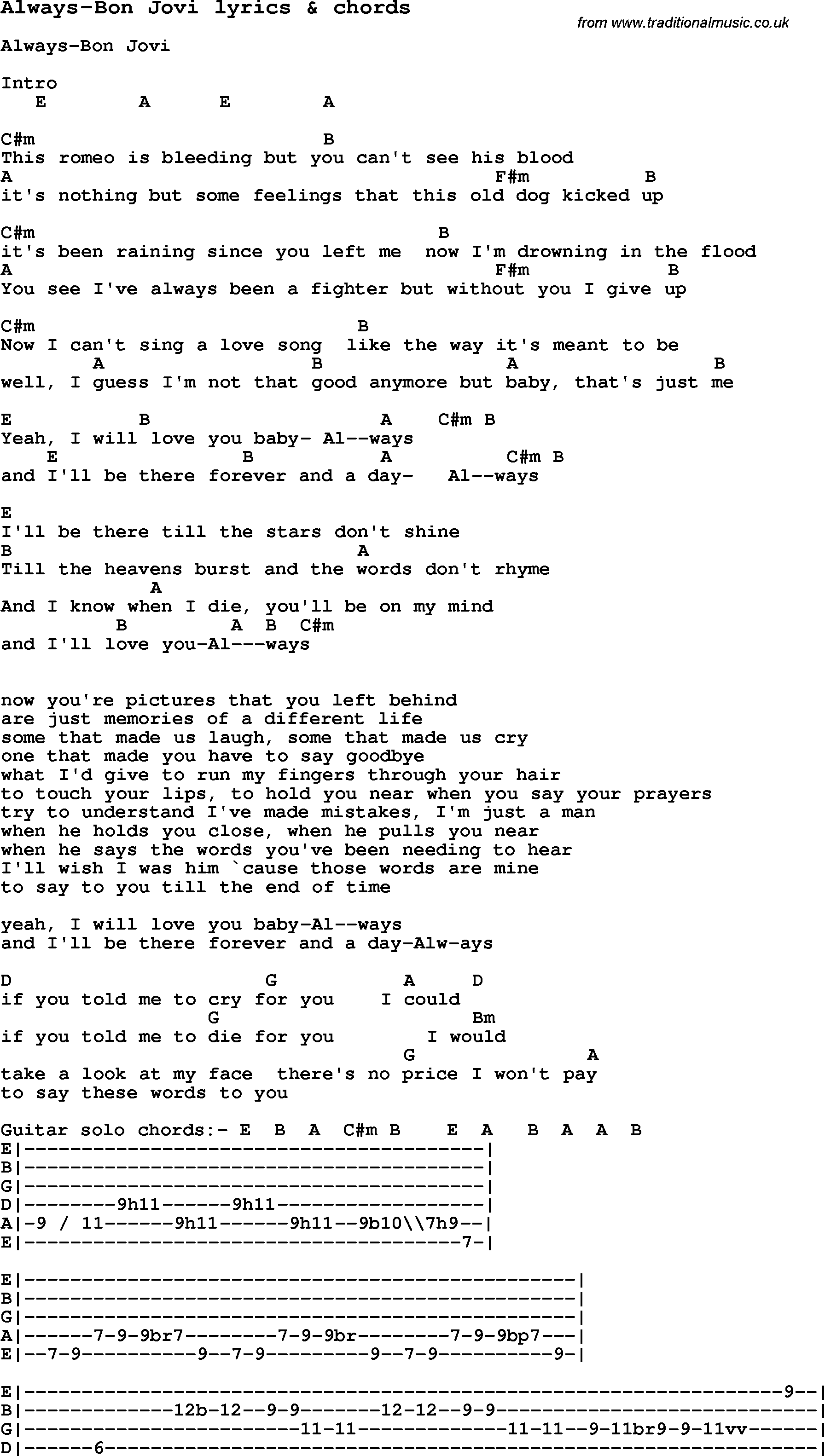 Love Song Lyrics Foralways Bon Jovi With Chords