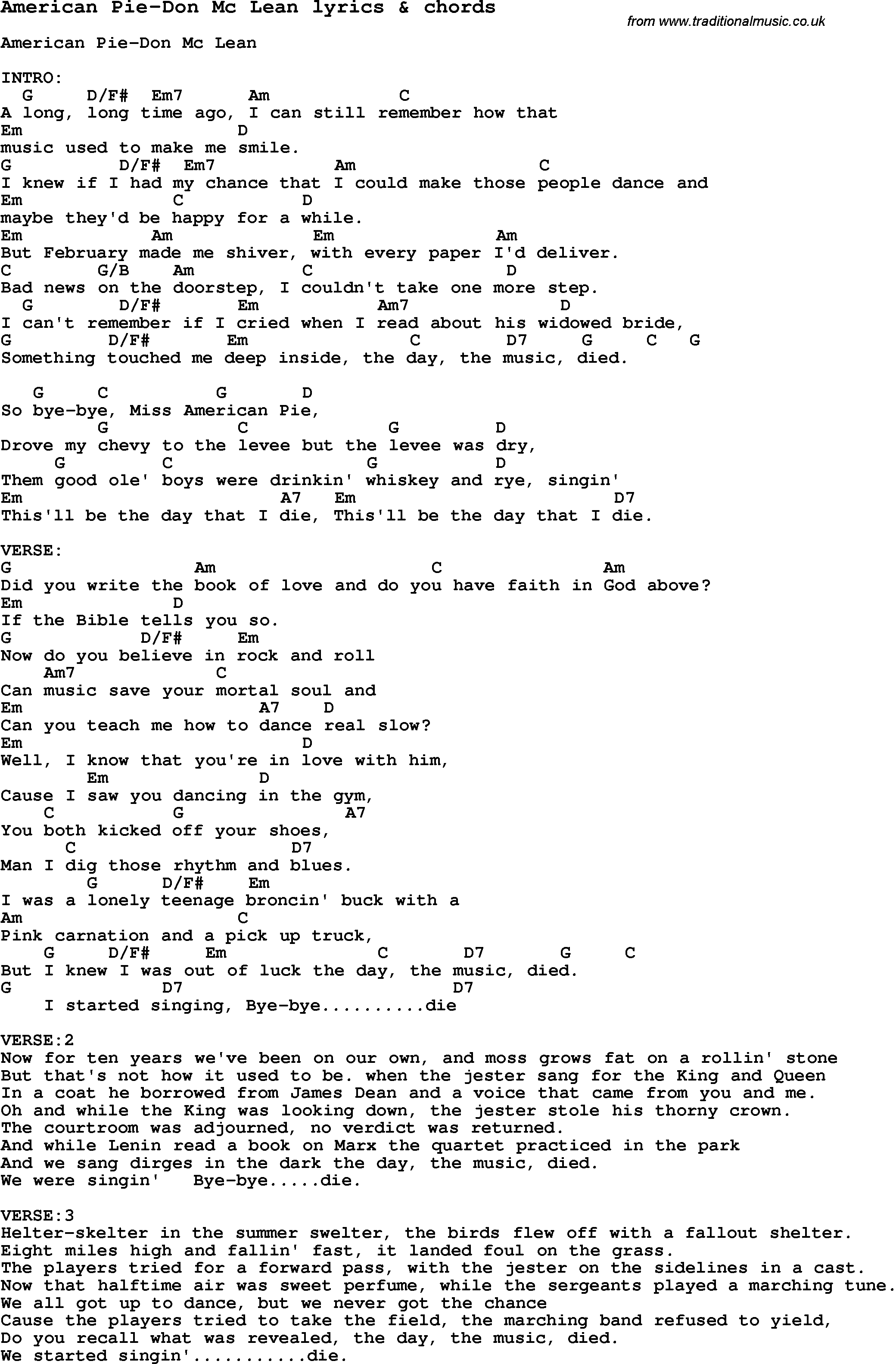 Love song lyrics foramerican pie don mc lean with chords love song lyrics for american pie don mc lean with chords for ukulele hexwebz Gallery