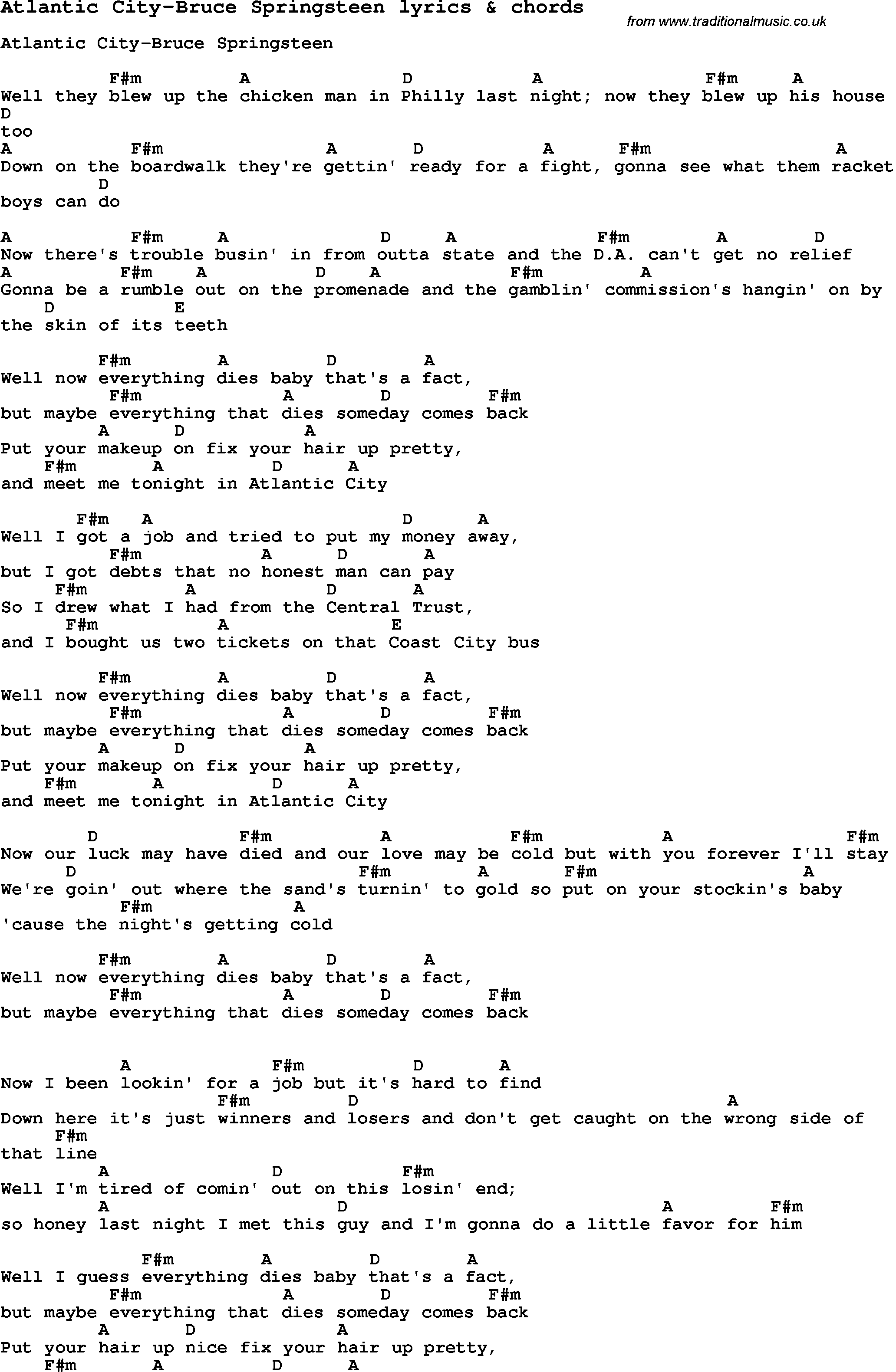 Love Song Lyrics Foratlantic City Bruce Springsteen With Chords