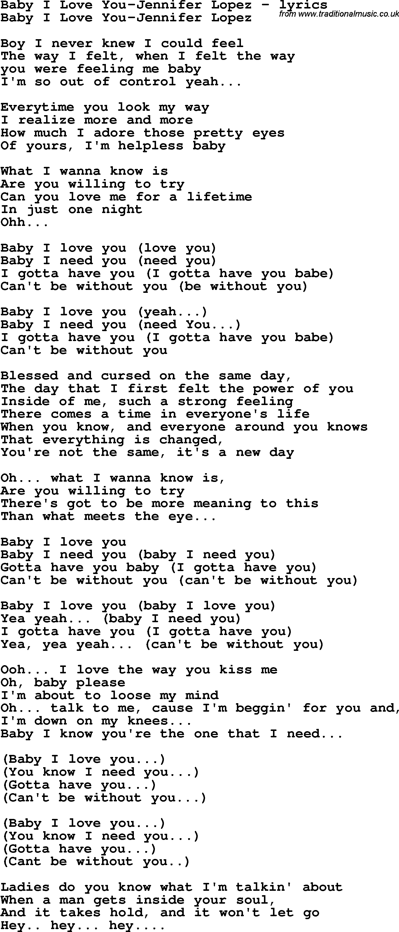 Baby i need you lyrics