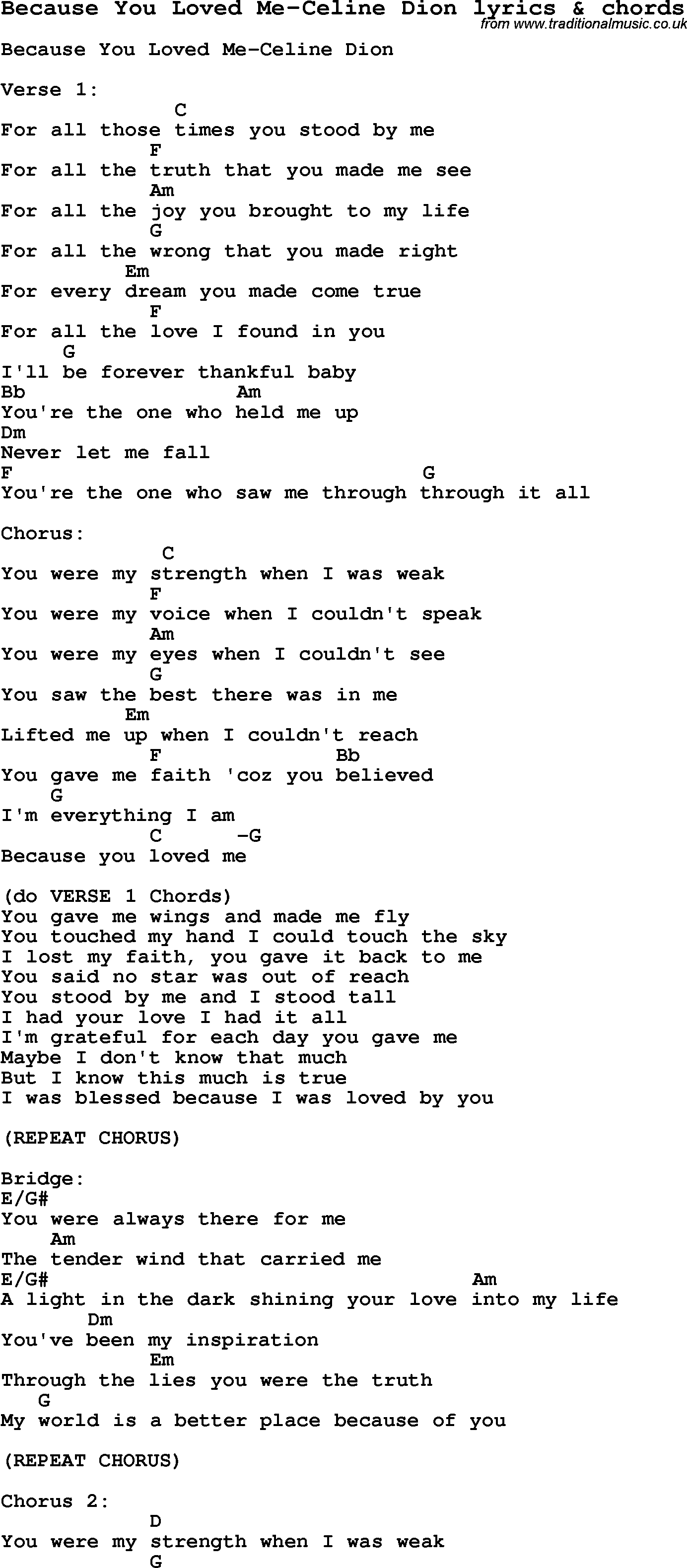 Love Song Lyrics for Because You Loved Me Celine Dion with chords for