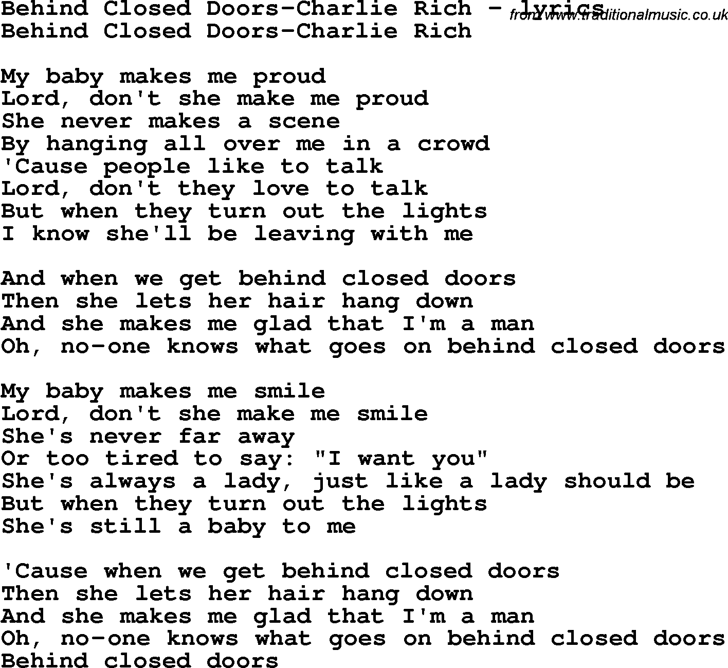 Love Song Lyrics for Behind Closed Doors-Charlie Rich  sc 1 st  Traditional Music Library & Love Song Lyrics for:Behind Closed Doors-Charlie Rich