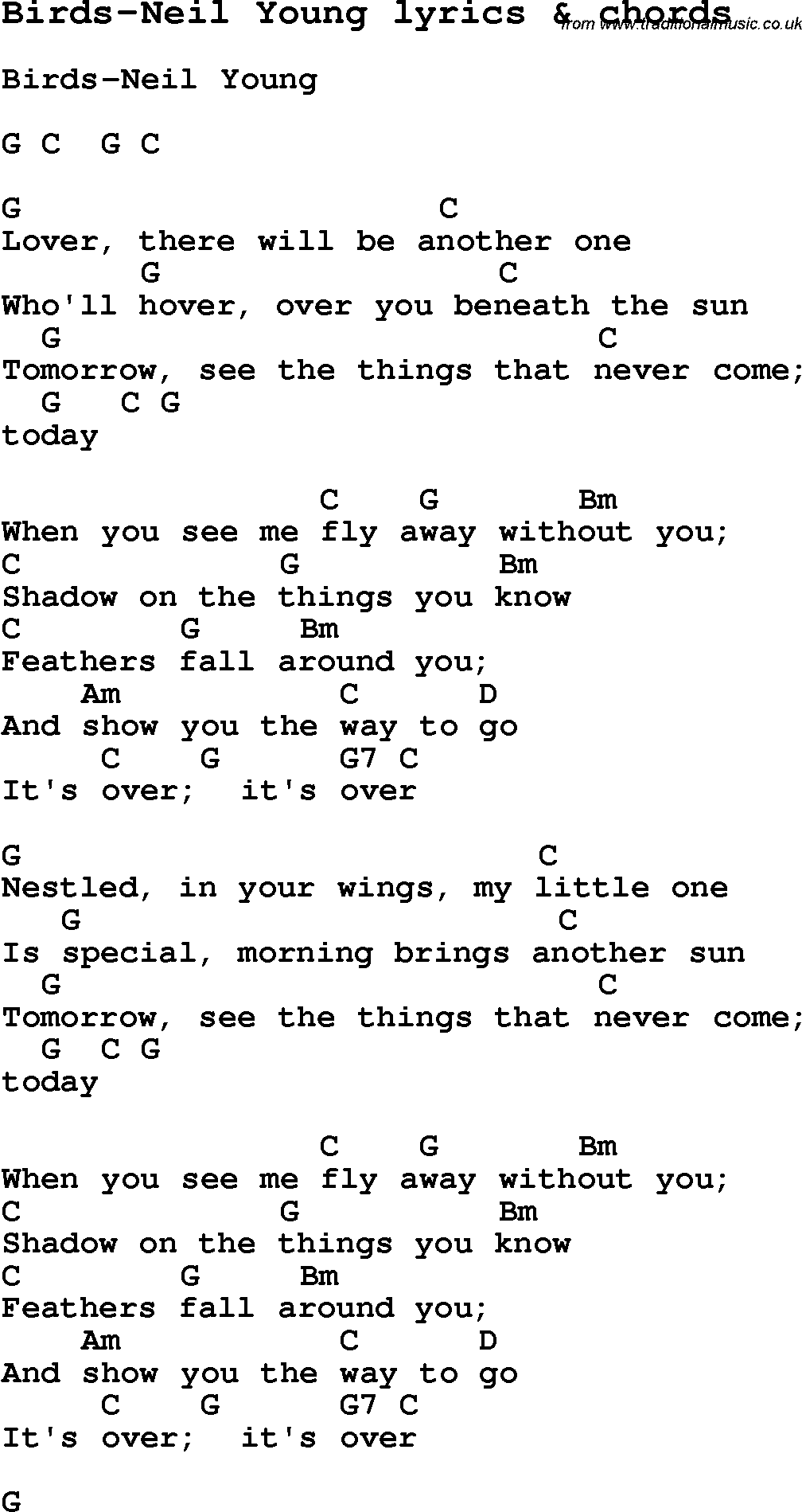 Love Song Lyrics for:Birds-Neil Young with chords.