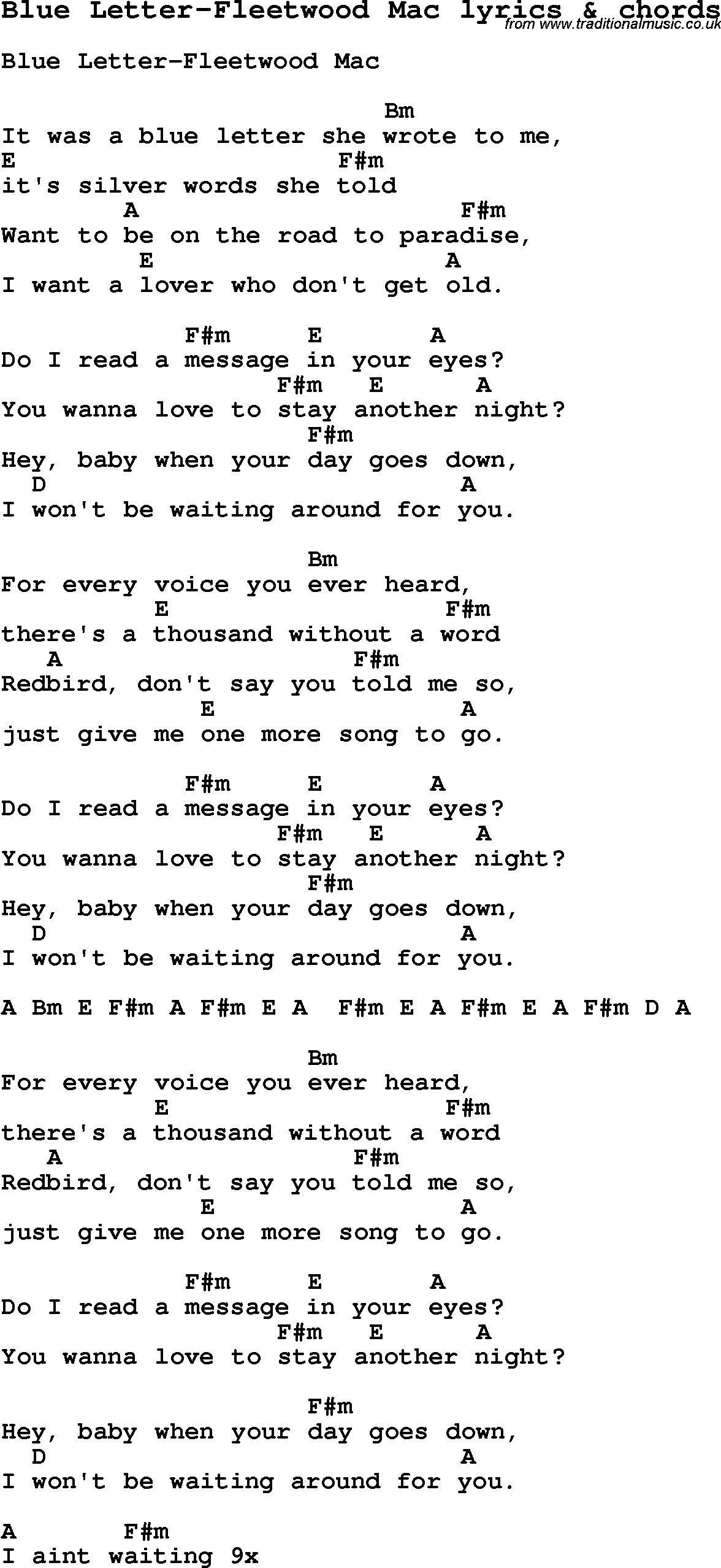 Love Song Lyrics for:Blue Letter Fleetwood Mac with chords.