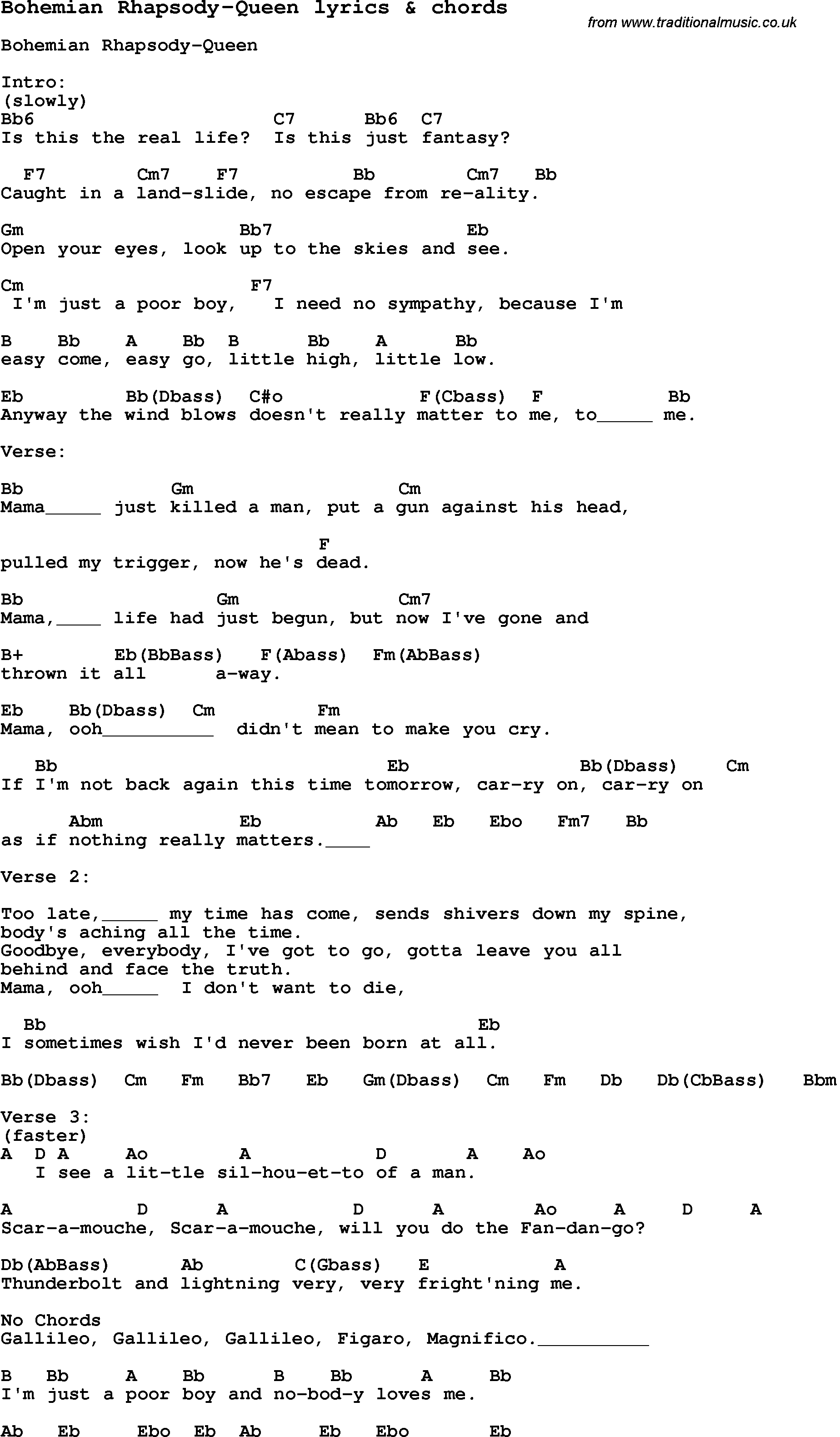 Love Song Lyrics for:Bohemian Rhapsody-Queen with chords.