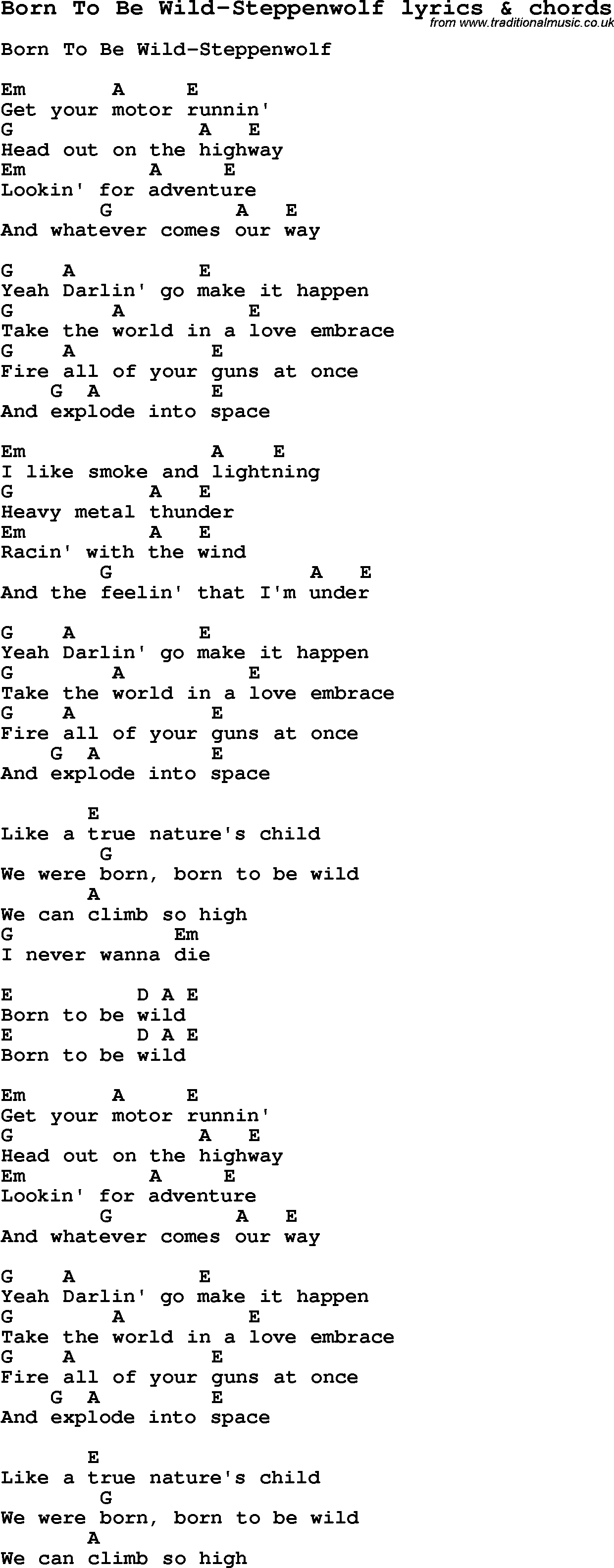 born to be wild lyrics