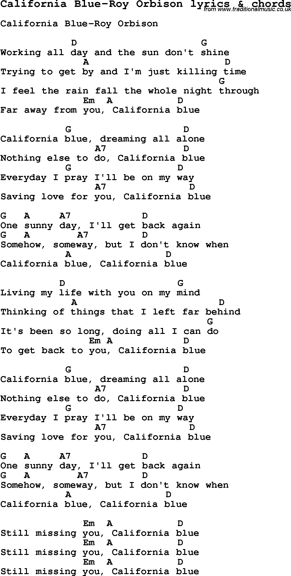 Love Song Lyrics Forcalifornia Blue Roy Orbison With Chords