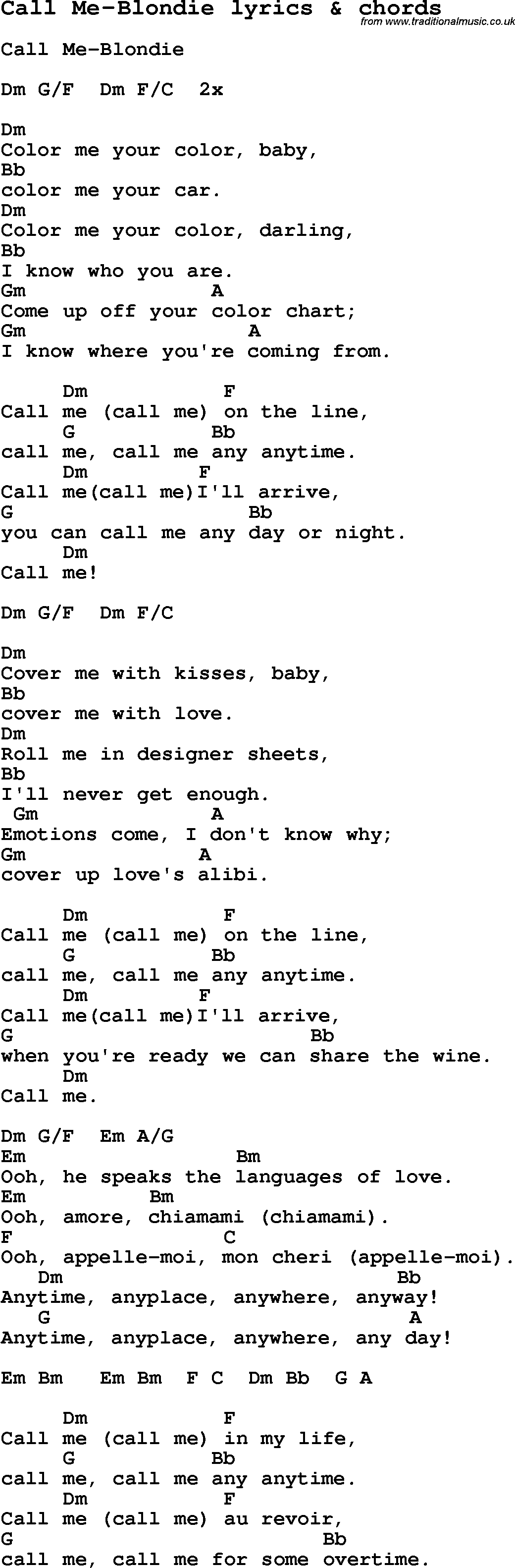 Love Song Lyrics for:Call Me-Blondie with chords.