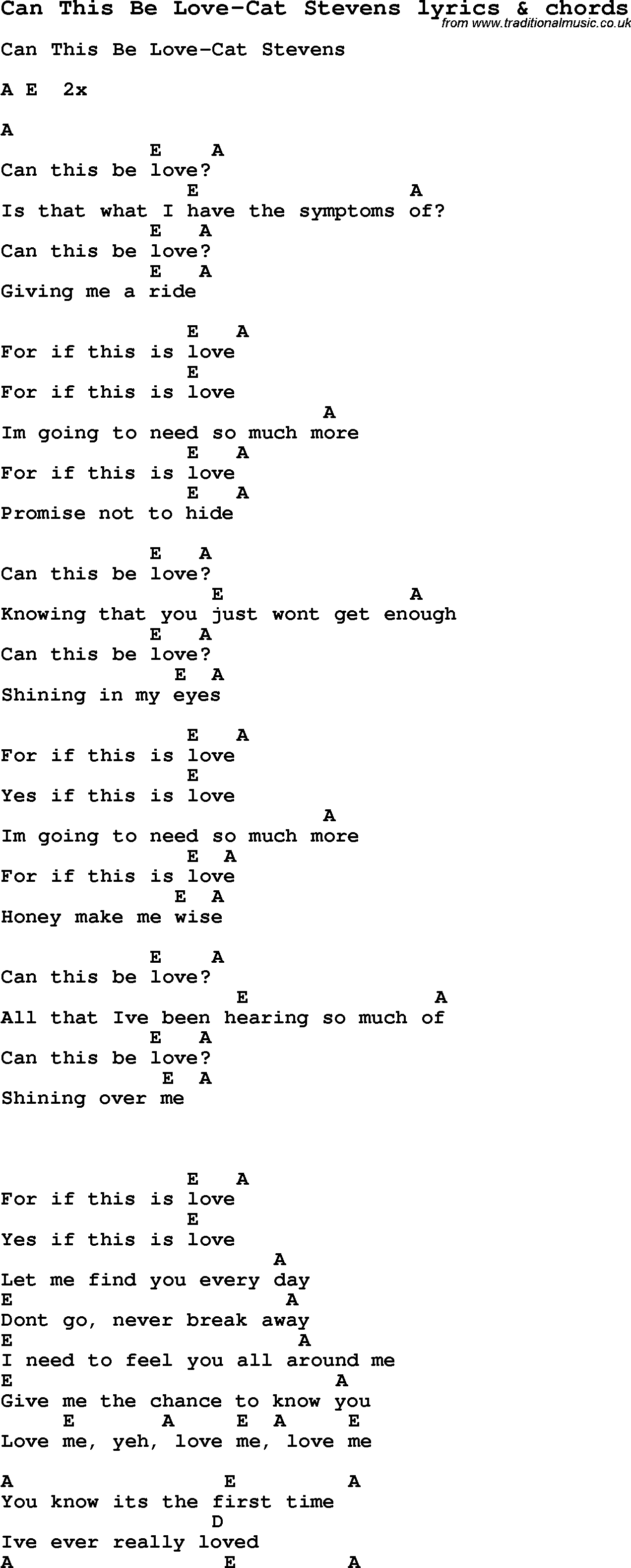 Trouble Lyrics Cat Stevens Chords