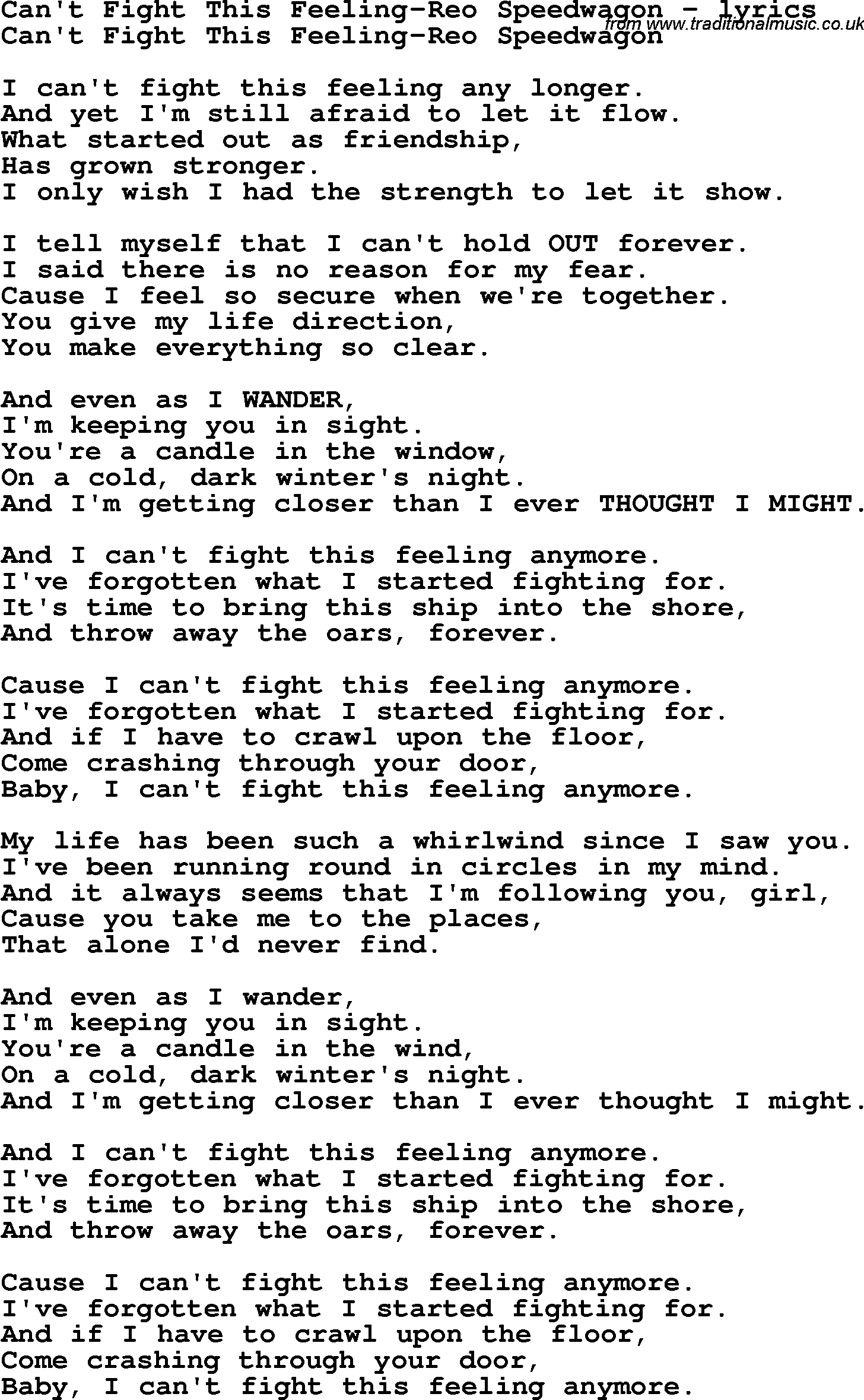 photograph about Fight Song Lyrics Printable known as Take pleasure in Tune Lyrics for:Cant Overcome This Impression-Reo Speedwagon