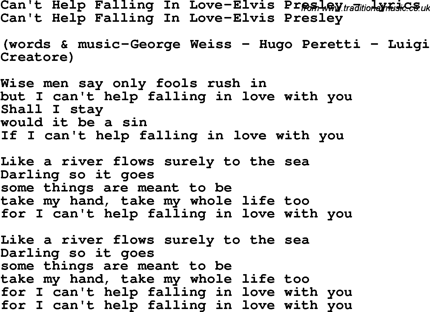 Elvis presley falling in love with you lyrics