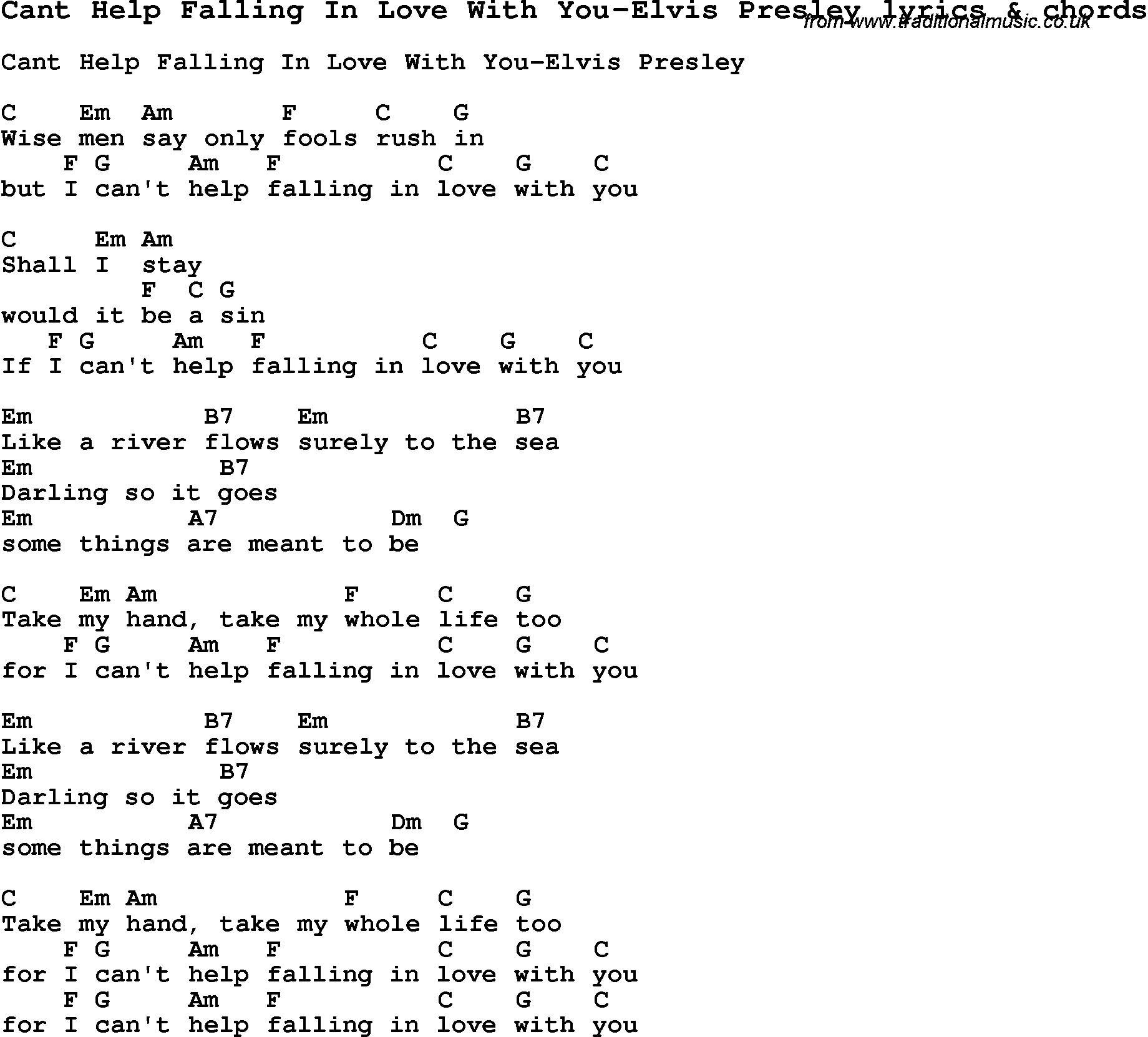 Love Song Lyrics for:Cant Help Falling In Love With You