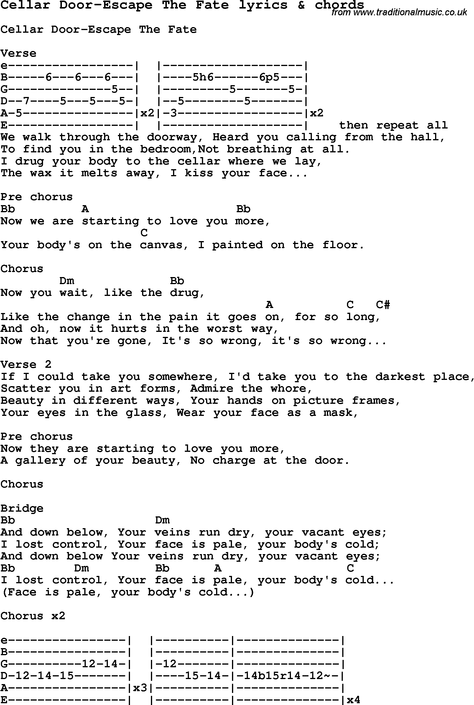 Love Song Lyrics forCellar Door Escape The Fate with chords.