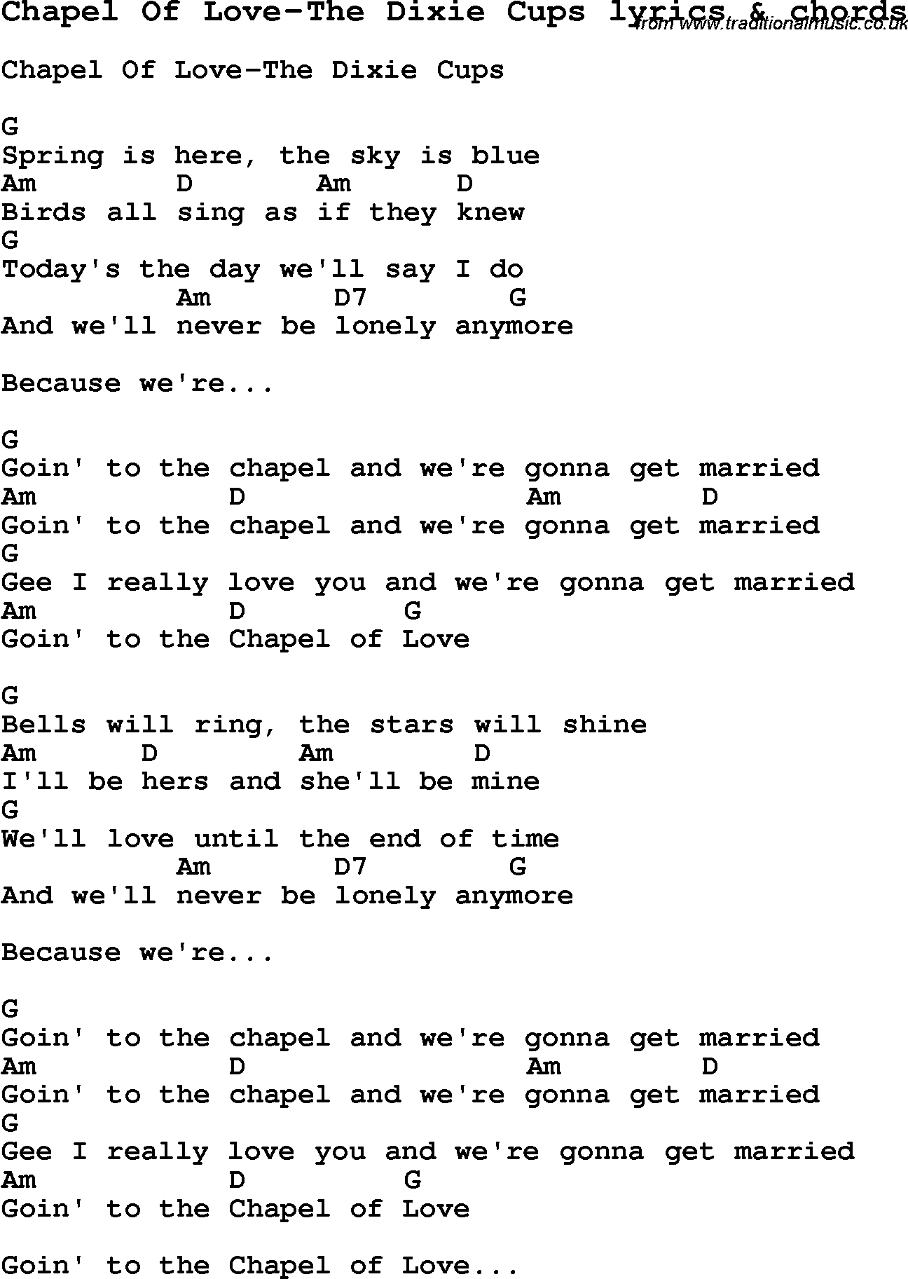 Love Song Lyrics forChapel Of Love The Dixie Cups with chords.