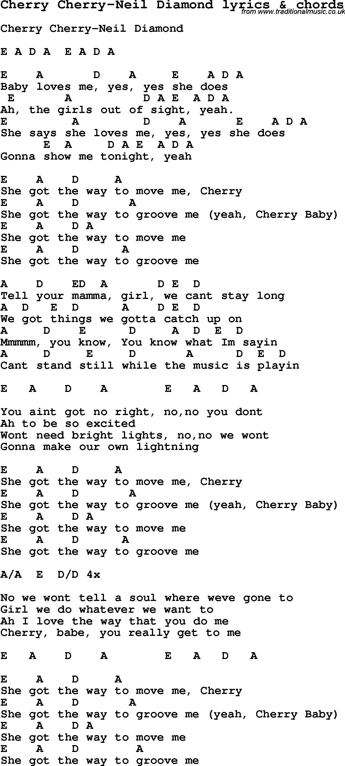 Love Song Lyrics Forcherry Cherry Neil Diamond With Chords