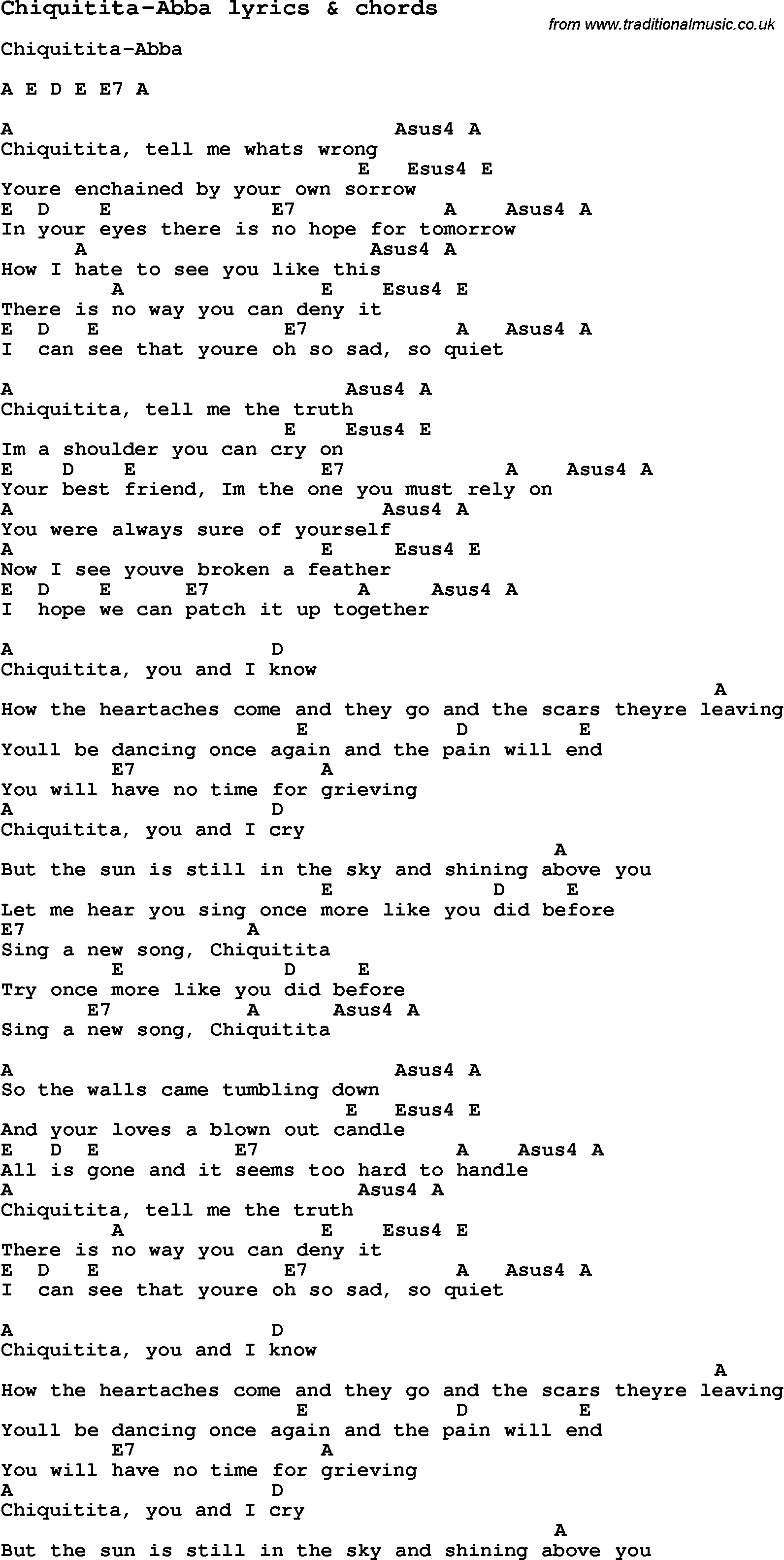 Love Song Lyrics for:Chiquitita-Abba with chords