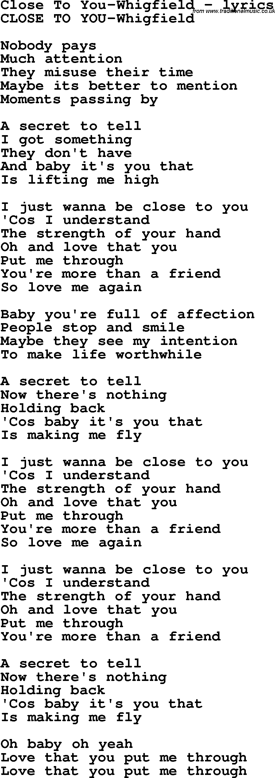 Whigfield - Close To You Lyrics | MetroLyrics