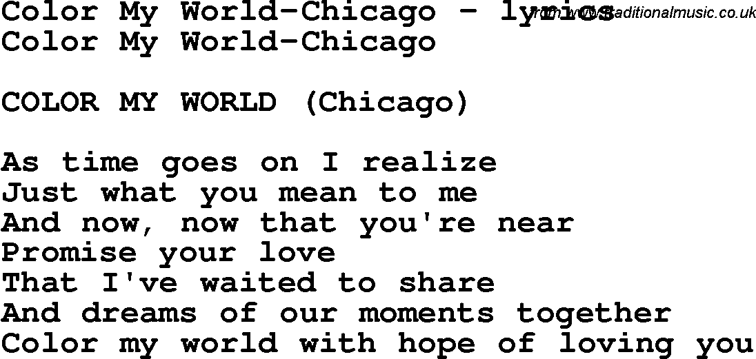 Love Song Lyrics Forcolor My World Chicago