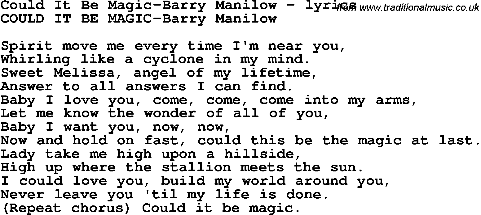 Love Song Lyrics Forcould It Be Magic Barry Manilow